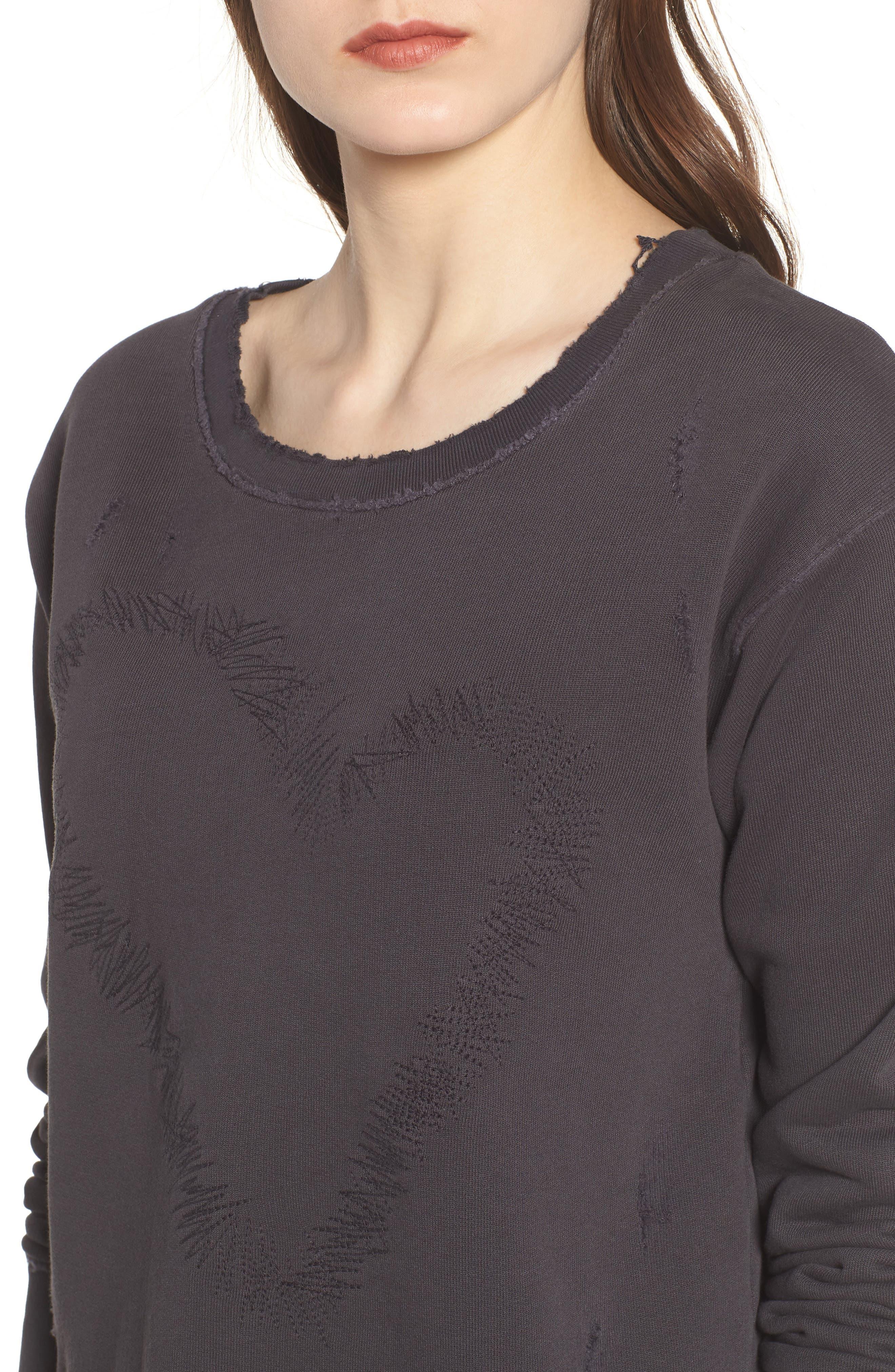 Heart Embroidered Sweatshirt,                             Alternate thumbnail 4, color,                             020