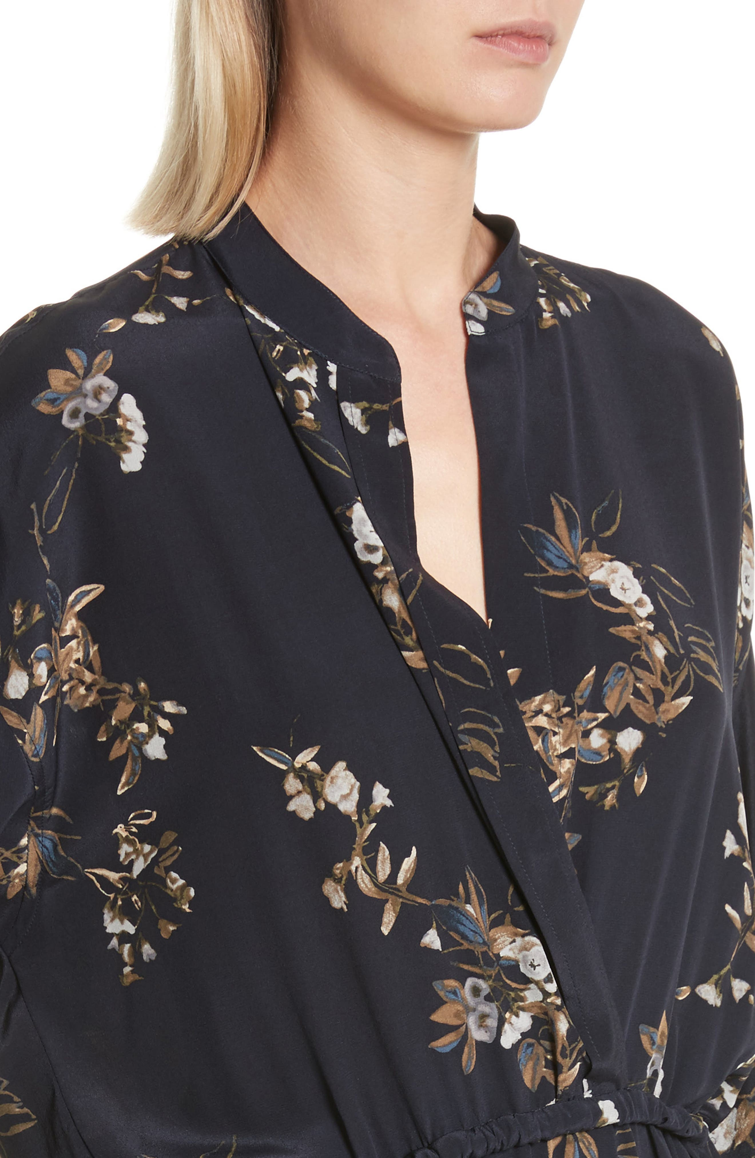 Silk Floral Shirtdress,                             Alternate thumbnail 4, color,