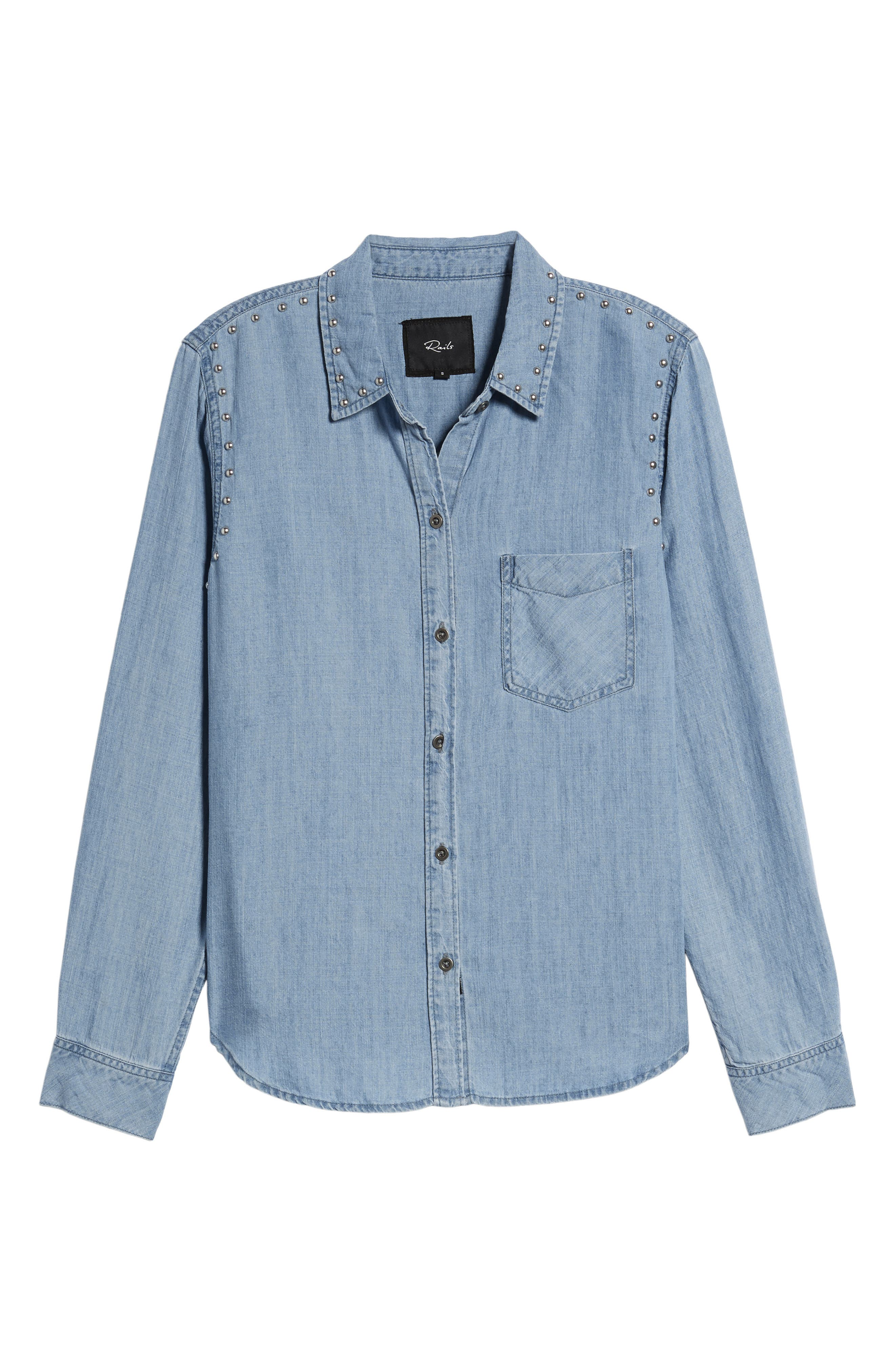 Ingrid Studded Shirt,                             Alternate thumbnail 6, color,                             493