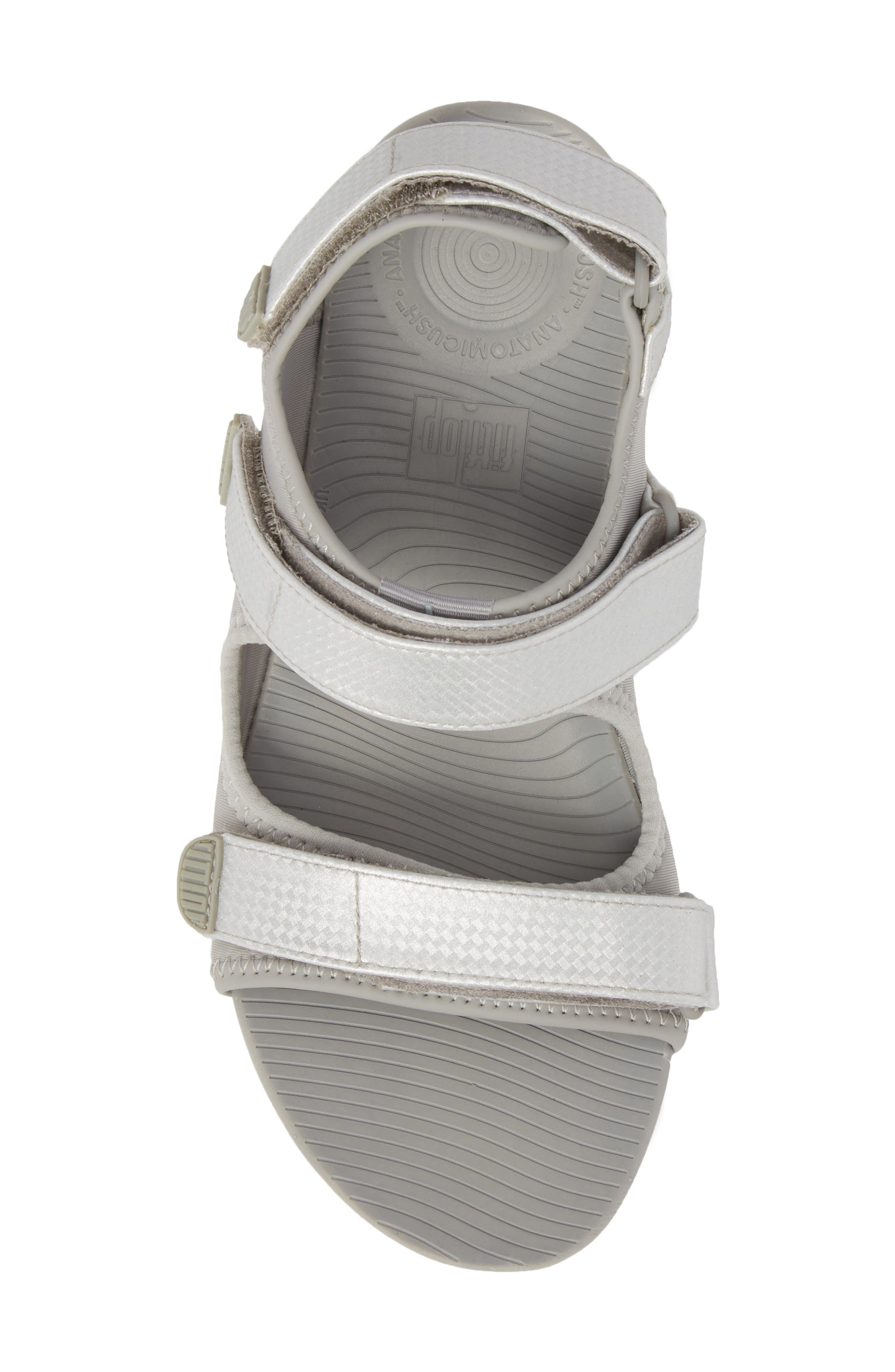 FitfFlop Neoflex<sup>™</sup> Back Strap Sandal,                             Alternate thumbnail 5, color,                             SOFT GREY/ SILVER LEATHER