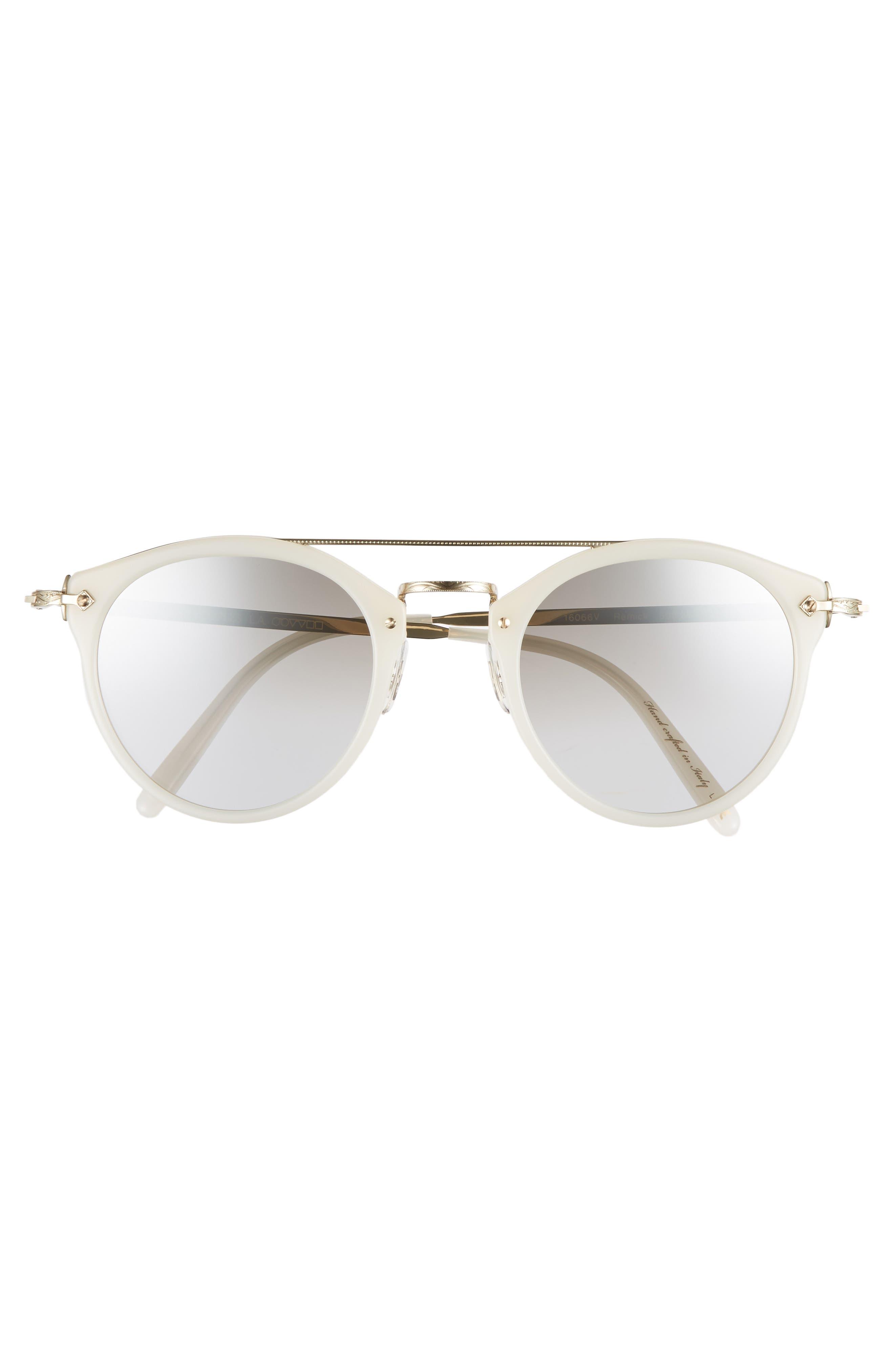 Remick 50mm Brow Bar Sunglasses,                             Alternate thumbnail 3, color,                             100