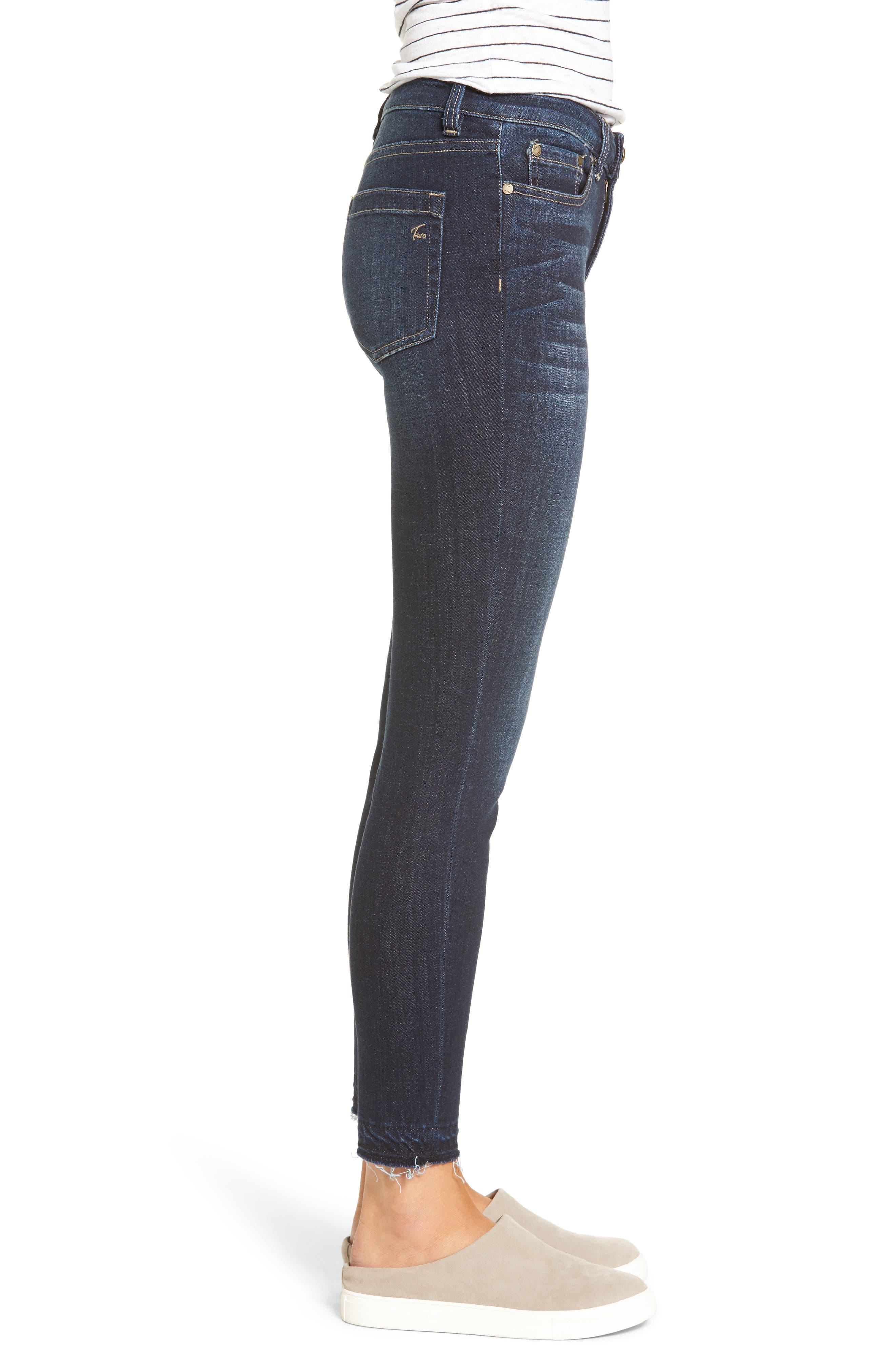 Release Hem Skinny Jeans,                             Alternate thumbnail 3, color,                             DARK AUTHENTIC