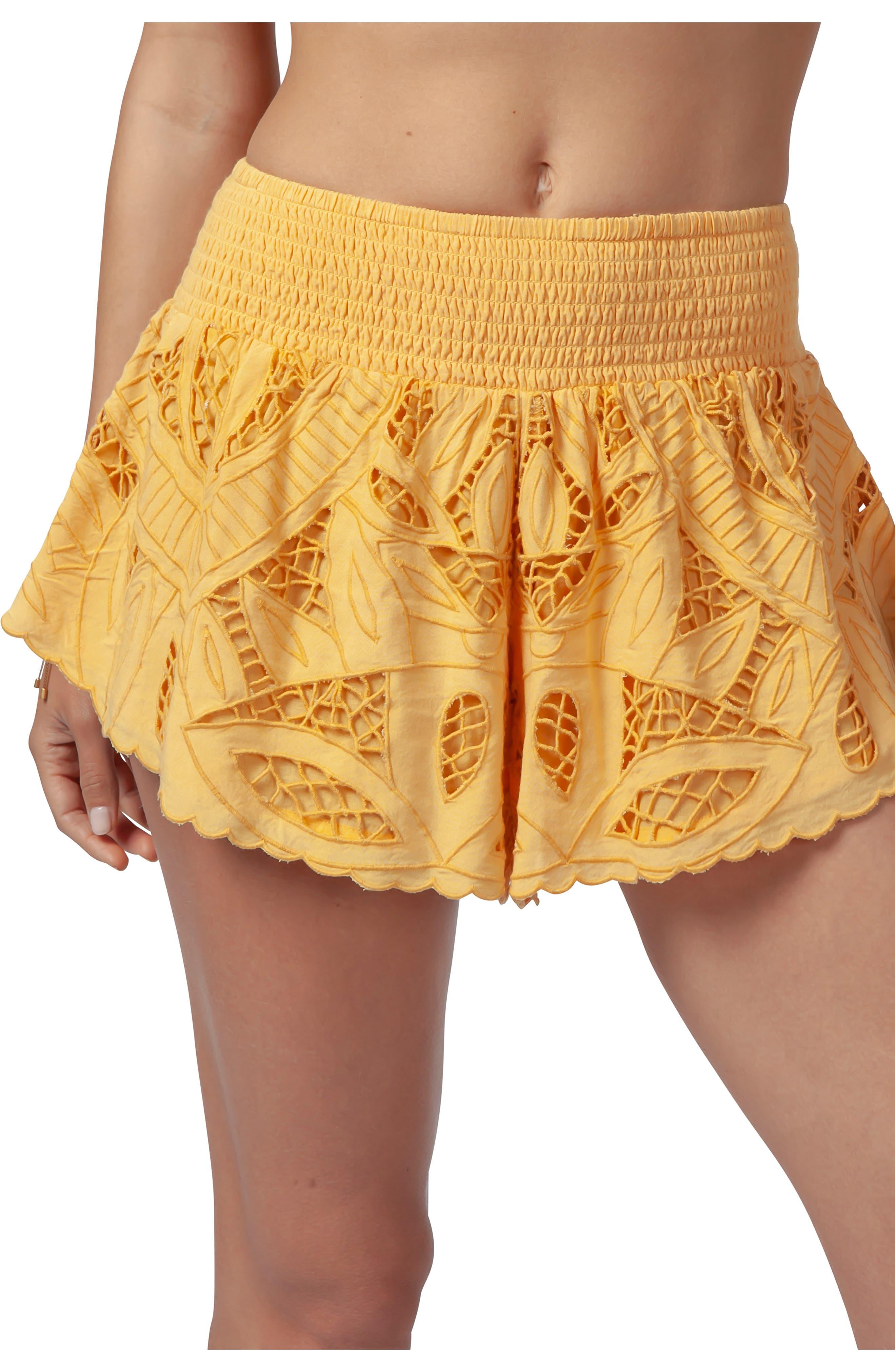 RIP CURL Seaview Cutwork Shorts, Main, color, GOLD