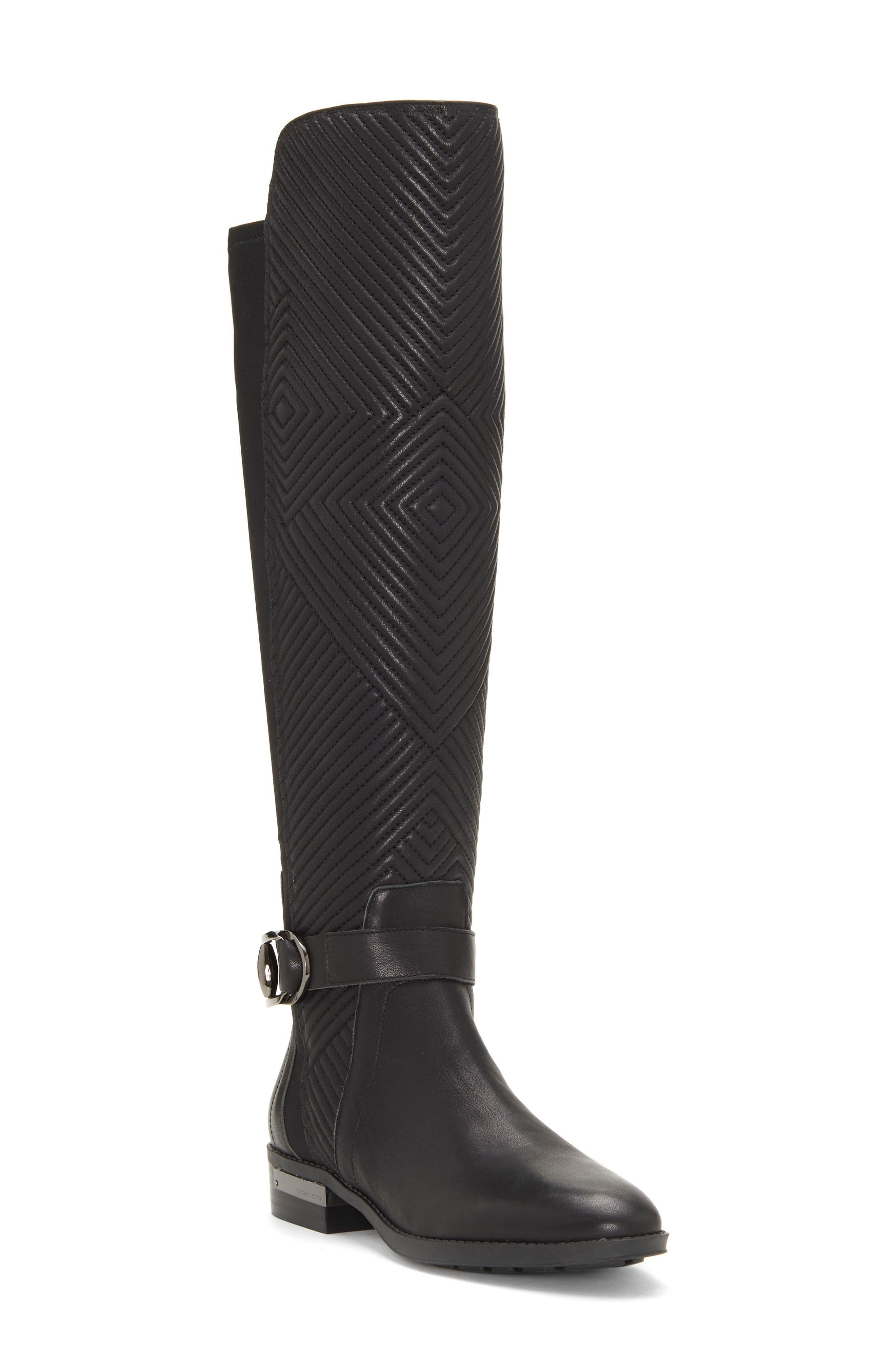 Pordalia Over-the-Knee Boot,                             Main thumbnail 1, color,                             BLACK LEATHER WIDE