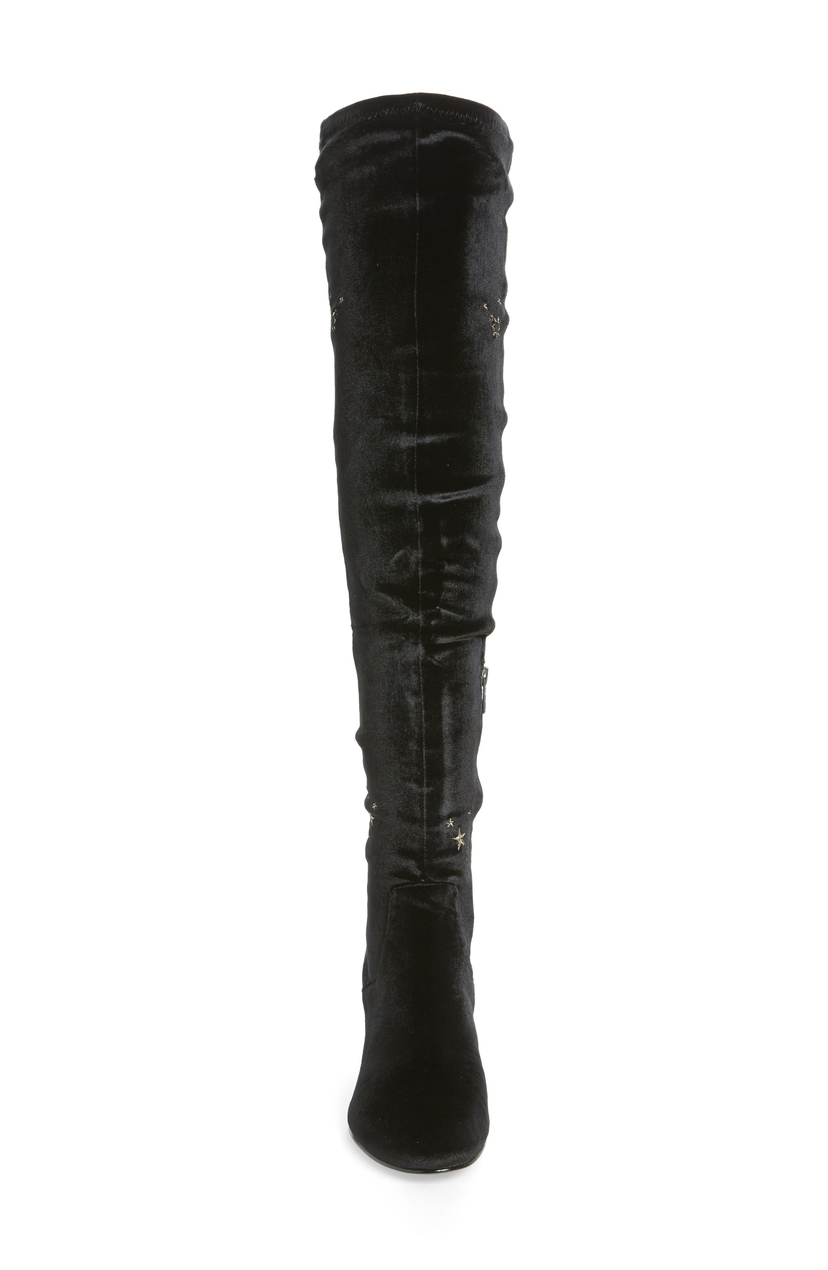 Eros Embroidered Velvet Over the Knee Boot,                             Alternate thumbnail 4, color,                             001