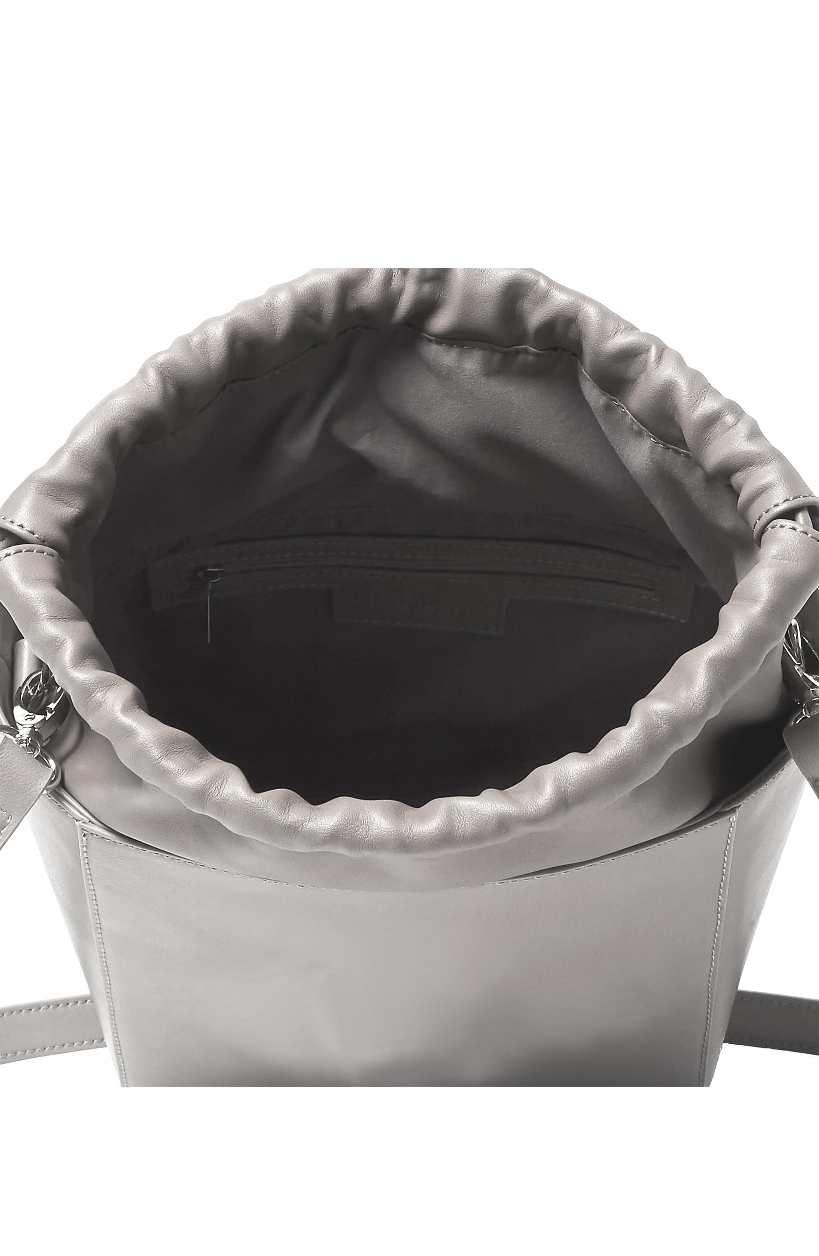 Be Yourself Vegan Leather Bucket Bag,                             Alternate thumbnail 2, color,                             GREY
