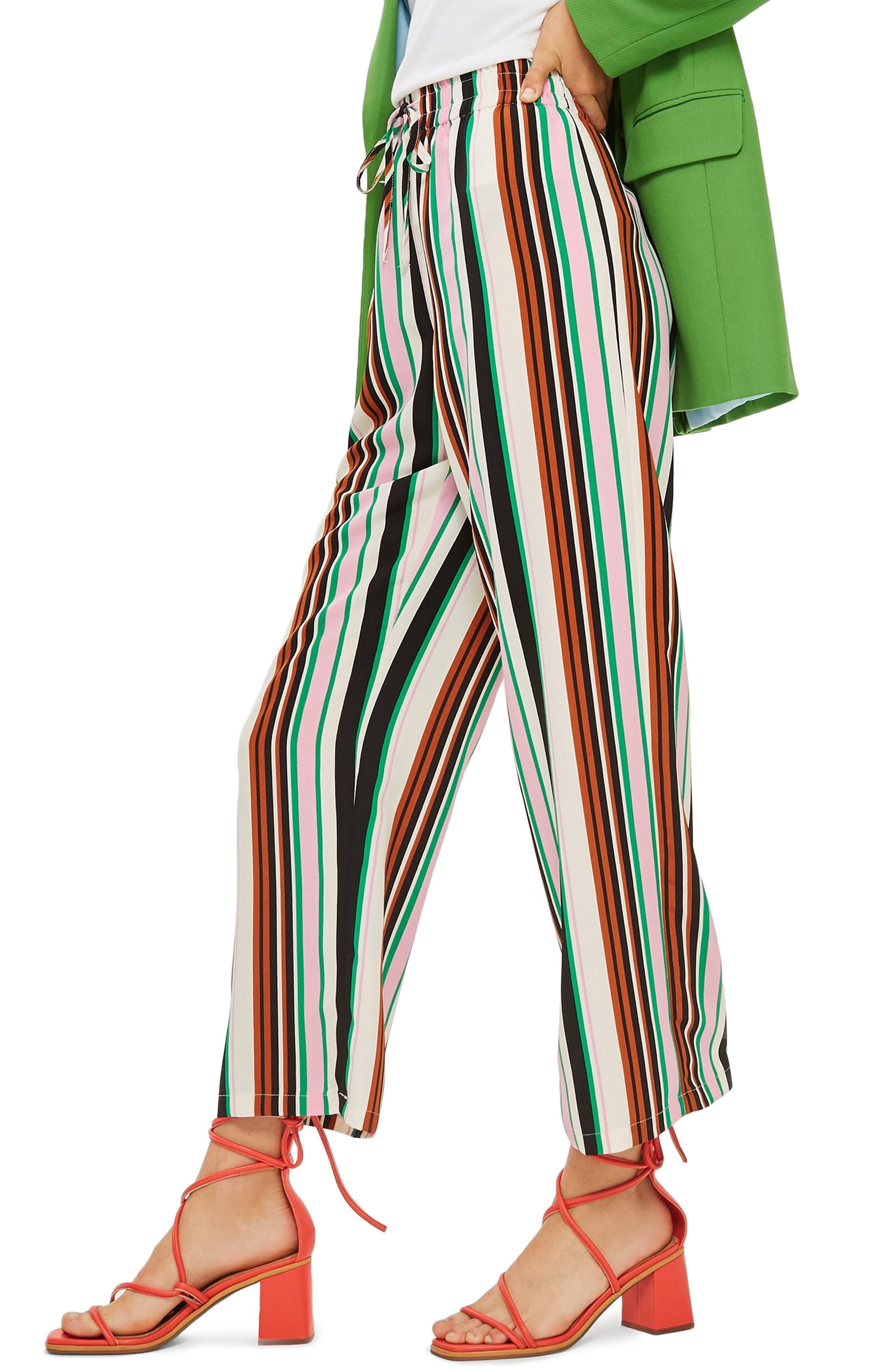 Stripe Slouch Pants,                             Alternate thumbnail 3, color,                             IVORY MULTI
