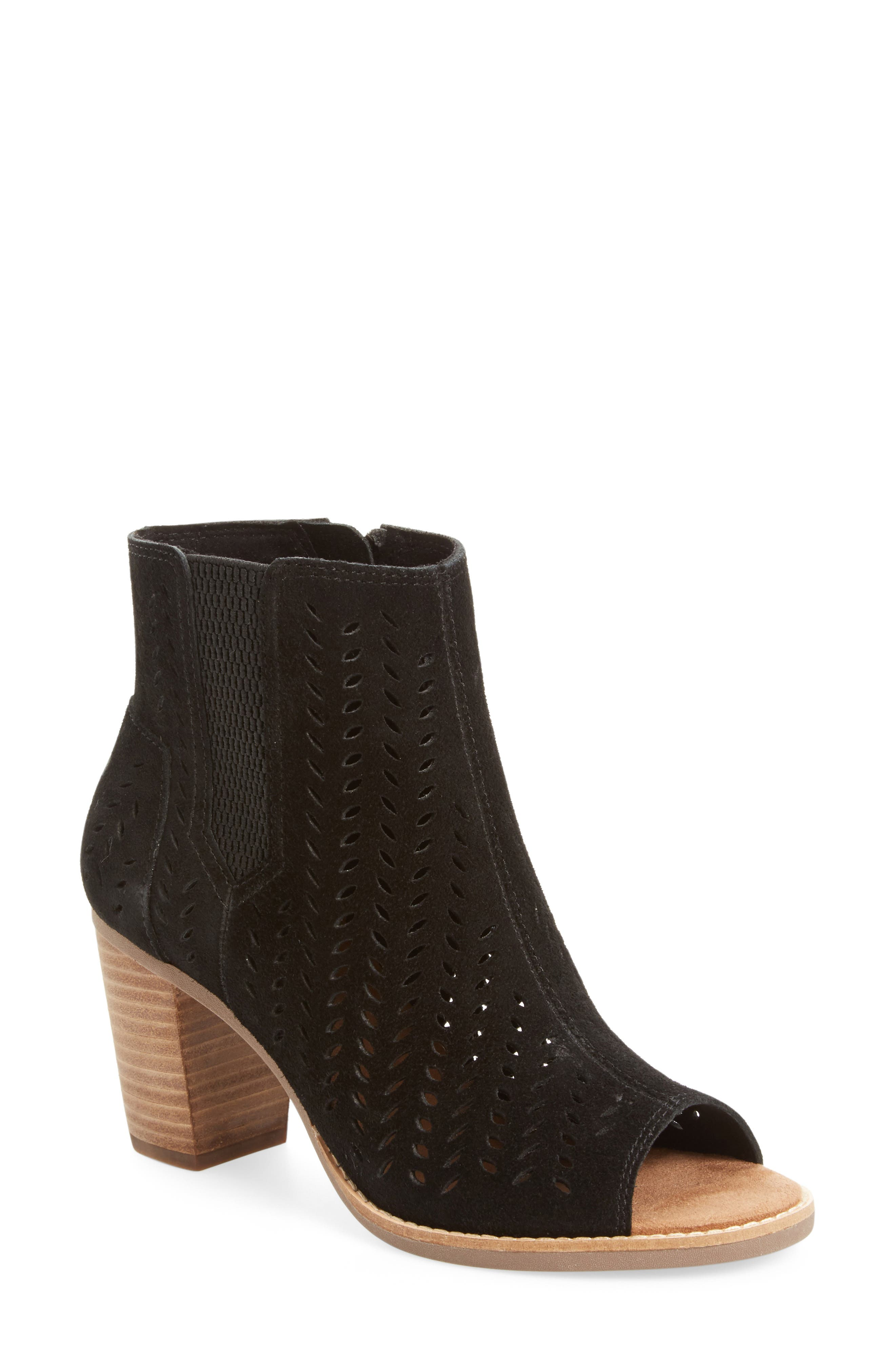 Majorca Perforated Suede Bootie,                             Main thumbnail 1, color,                             001
