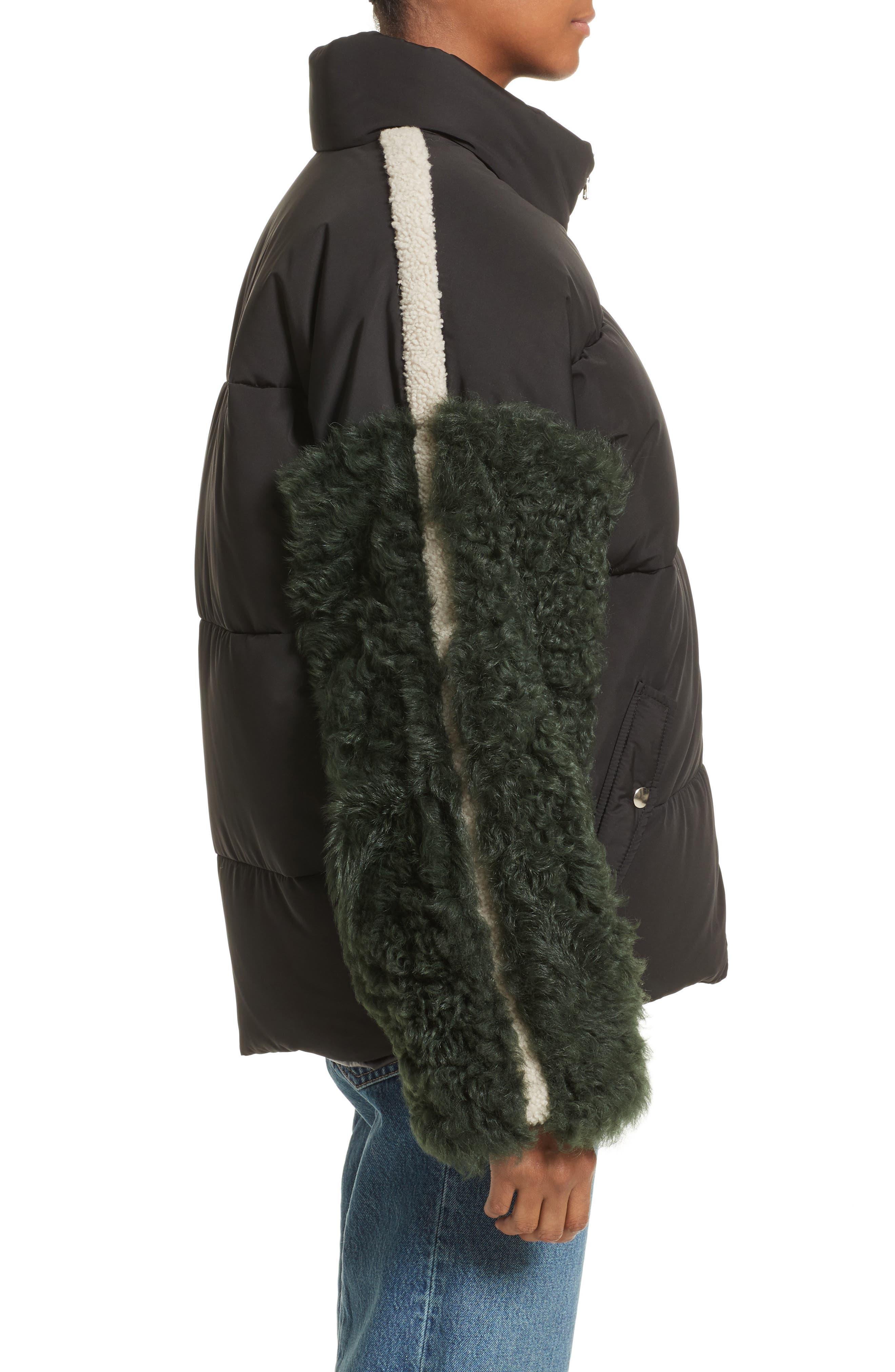 Eldridge Puffer Coat with Genuine Shearling Sleeves,                             Alternate thumbnail 3, color,                             001