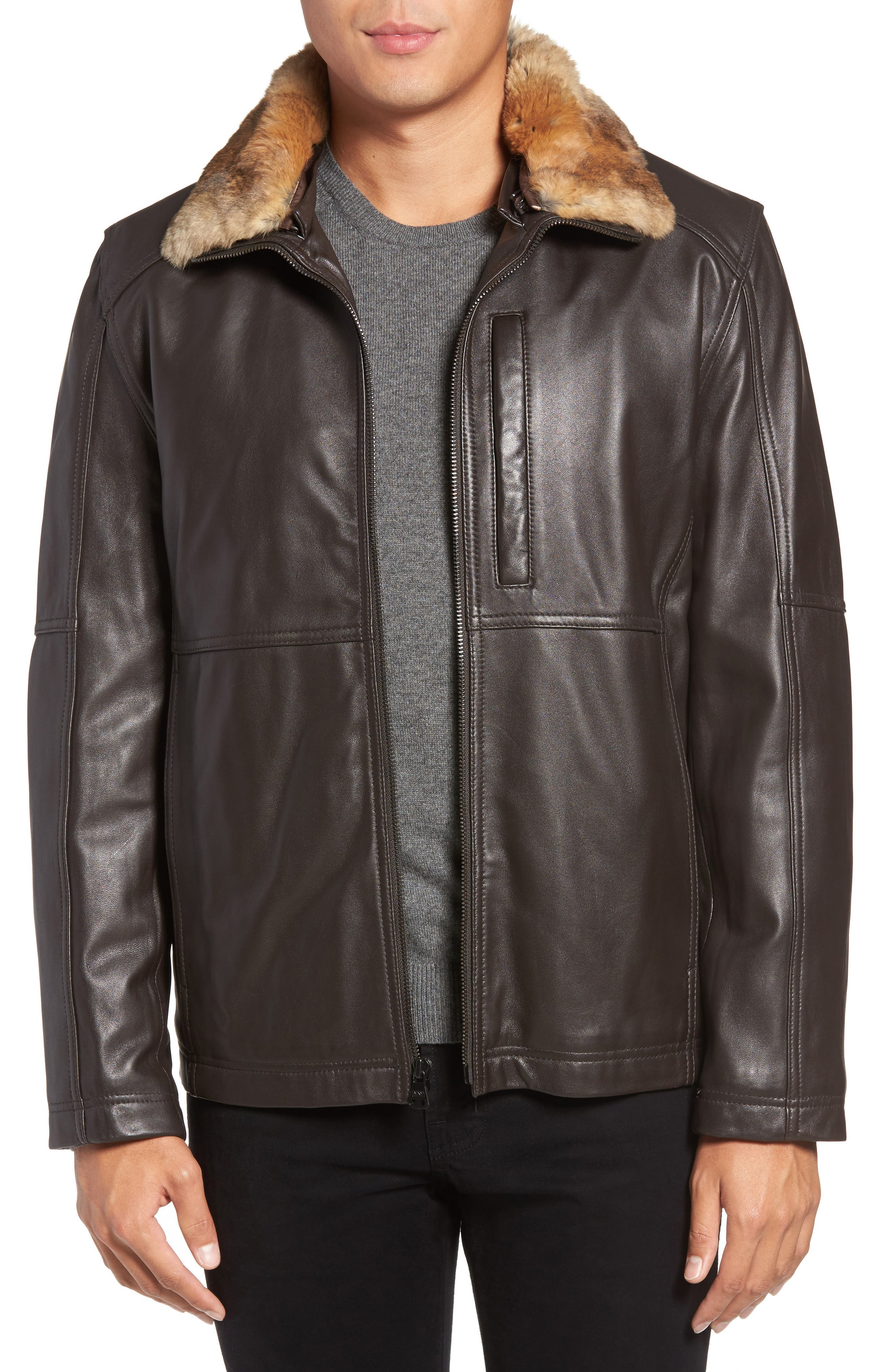 Lambskin Leather Jacket with Genuine Rabbit Fur Trim,                             Main thumbnail 2, color,