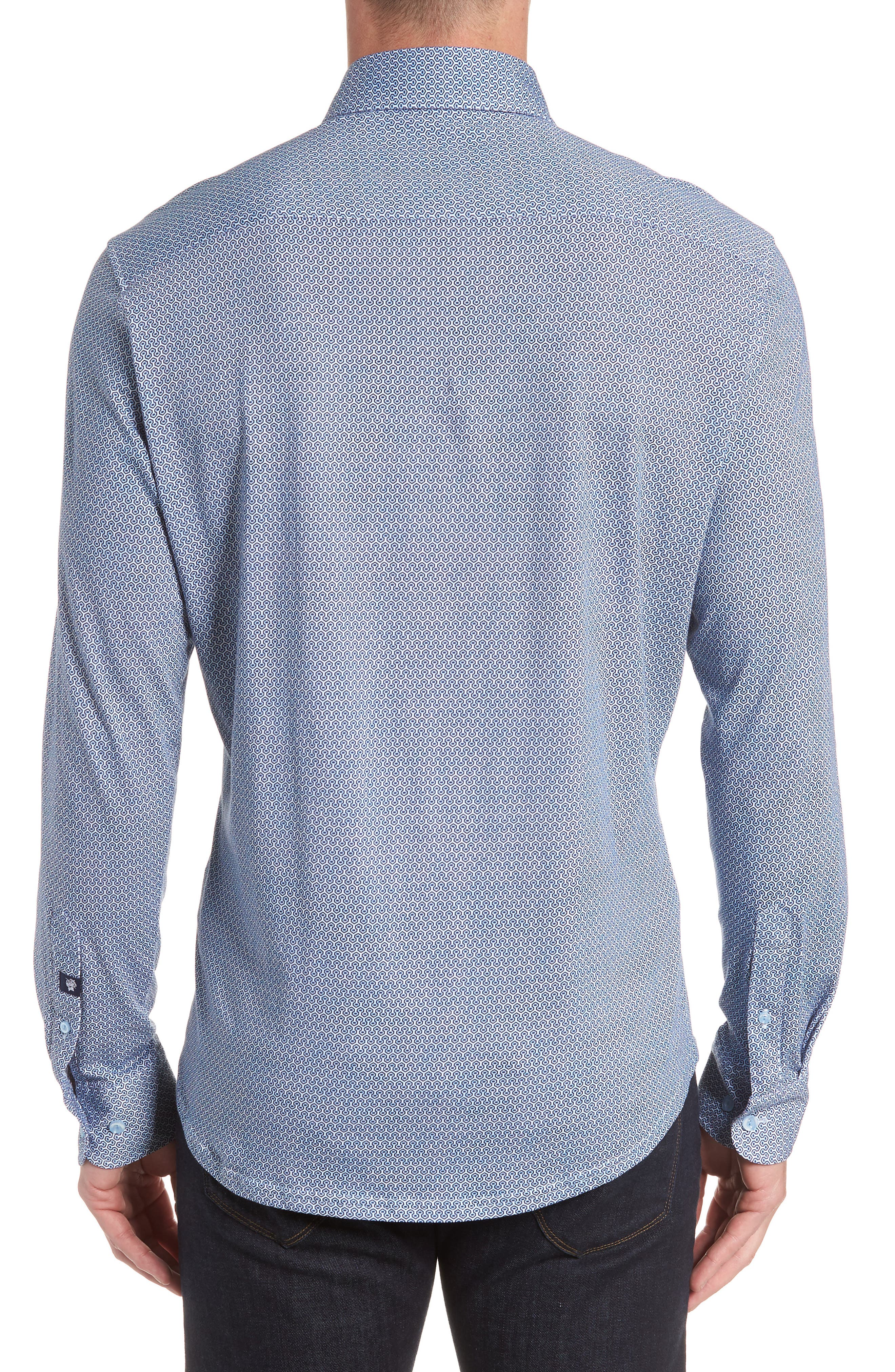 Honeycomb Print Knit Sport Shirt,                             Alternate thumbnail 4, color,