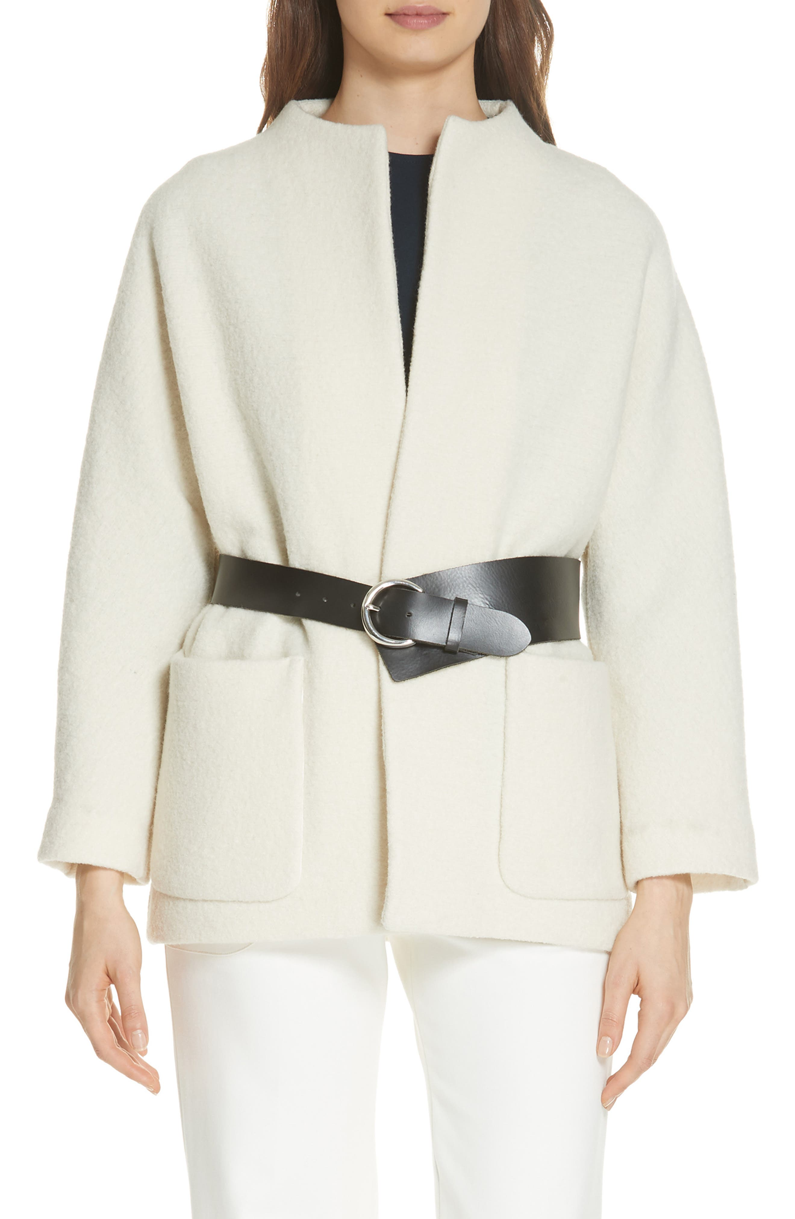 Clif Belted Wool Coat,                         Main,                         color, ECRU