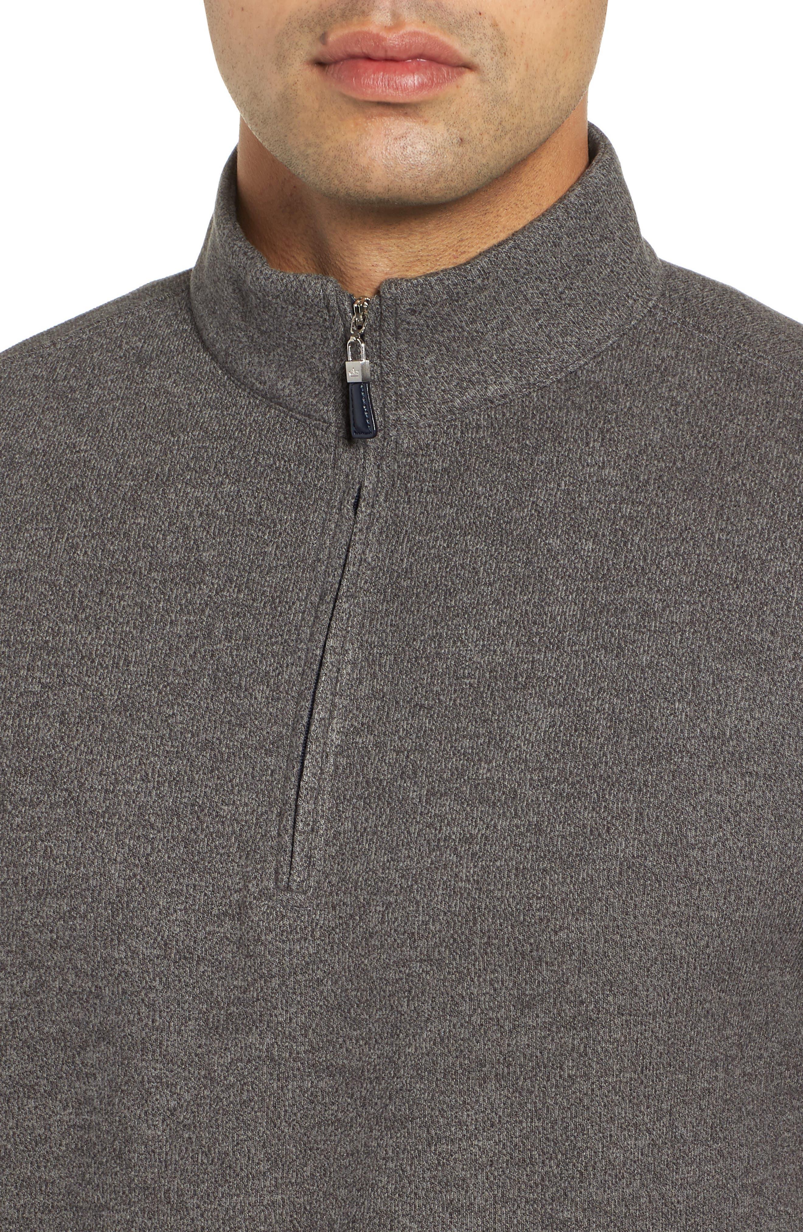 Mélange Fleece Quarter Zip Pullover,                             Alternate thumbnail 4, color,                             SMOKE
