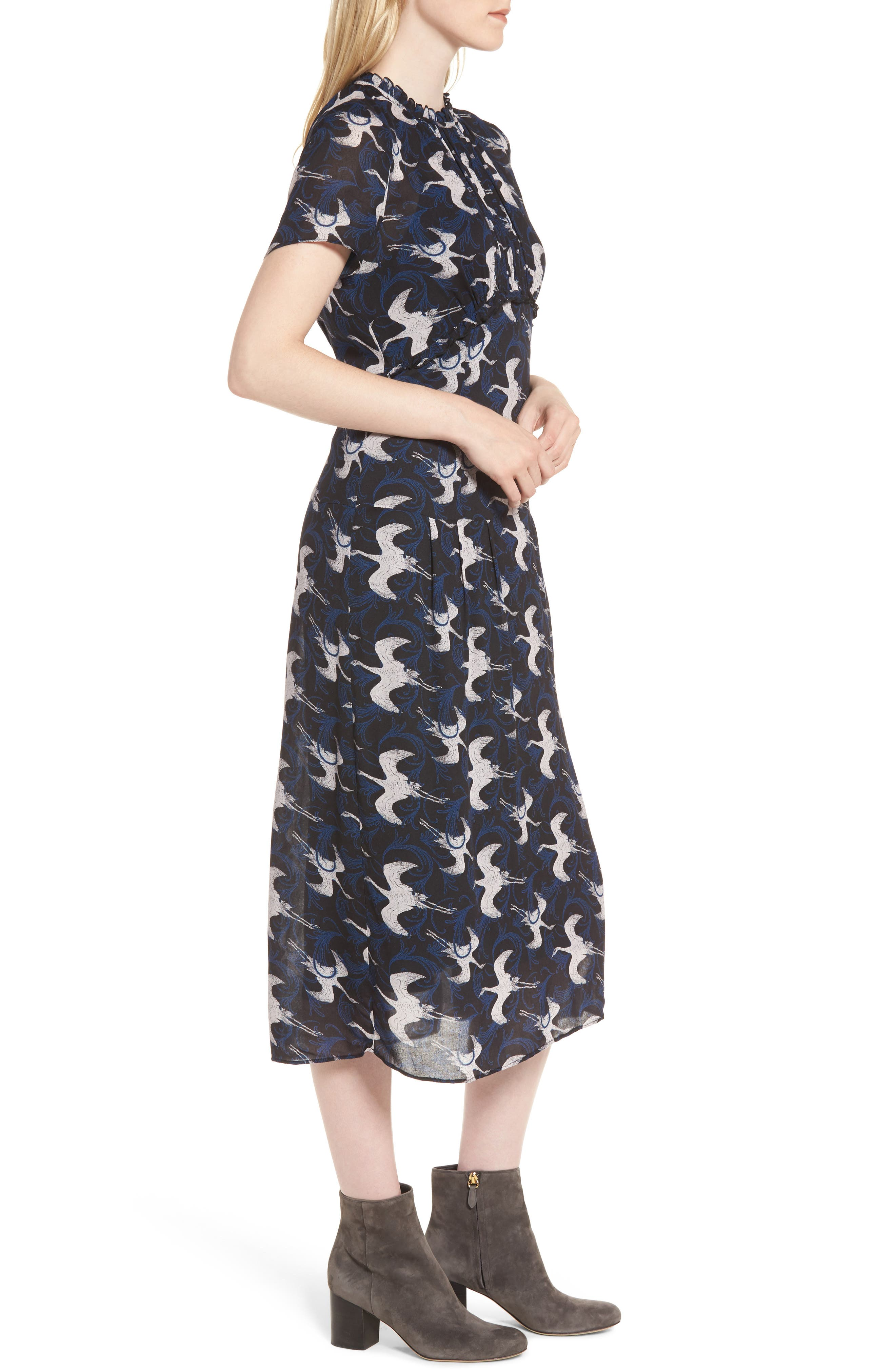 Shirred Midi Dress,                             Alternate thumbnail 3, color,                             020