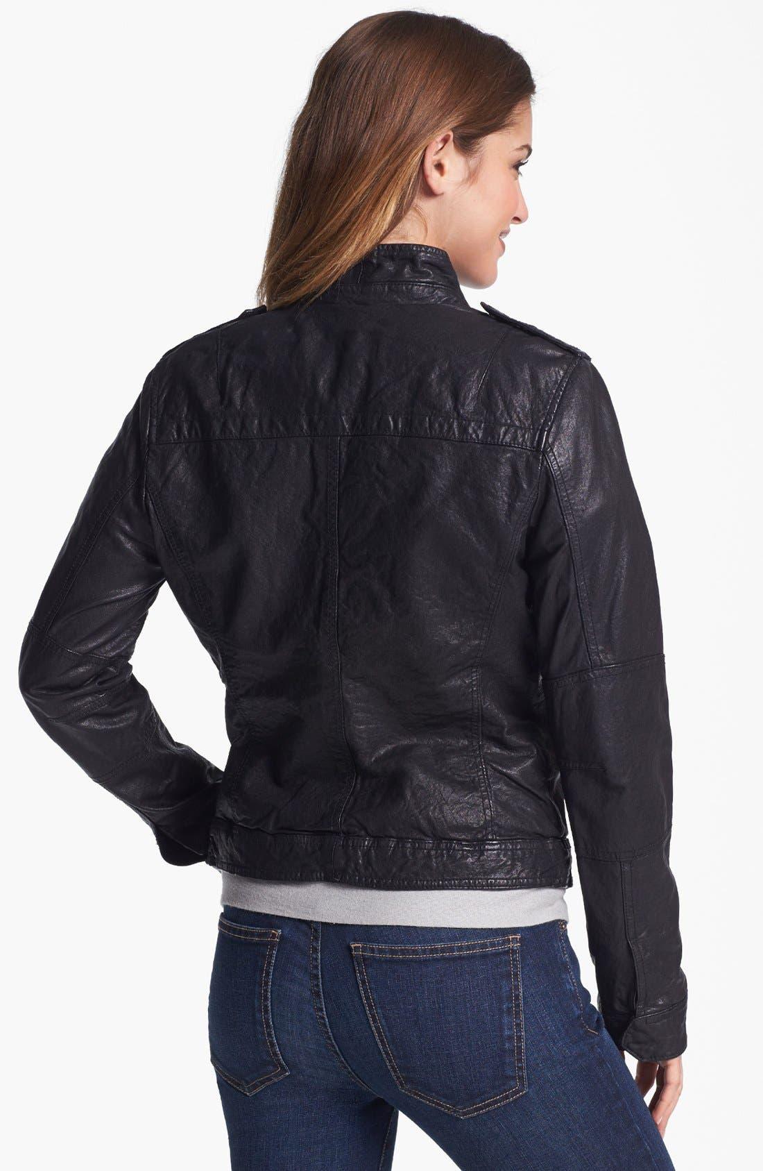 Crinkled Leather Jacket,                             Alternate thumbnail 3, color,                             002