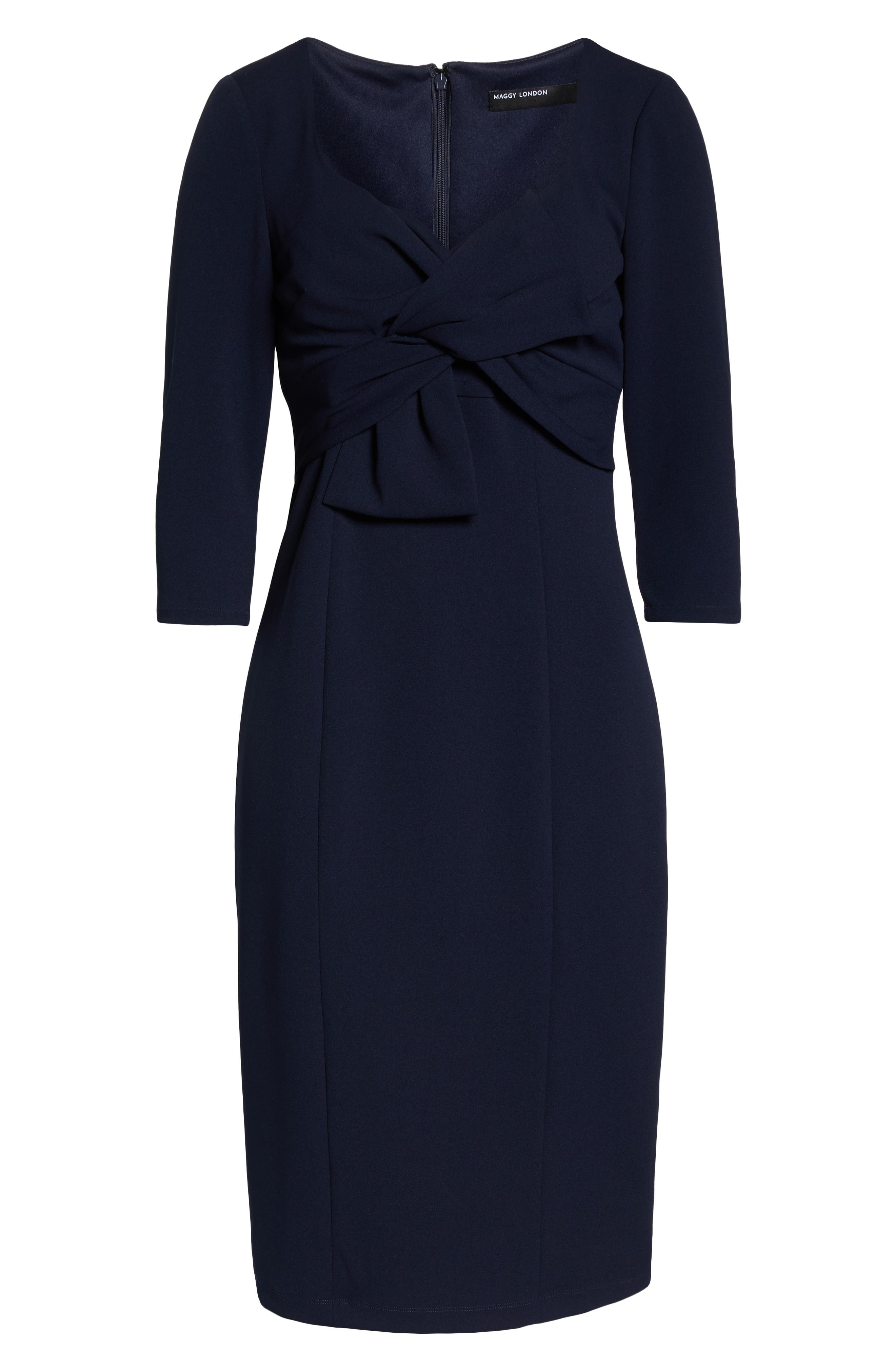 MAGGY LONDON,                             Bow Twist Scuba Crepe Dress,                             Alternate thumbnail 7, color,                             TWILIGHT NAVY