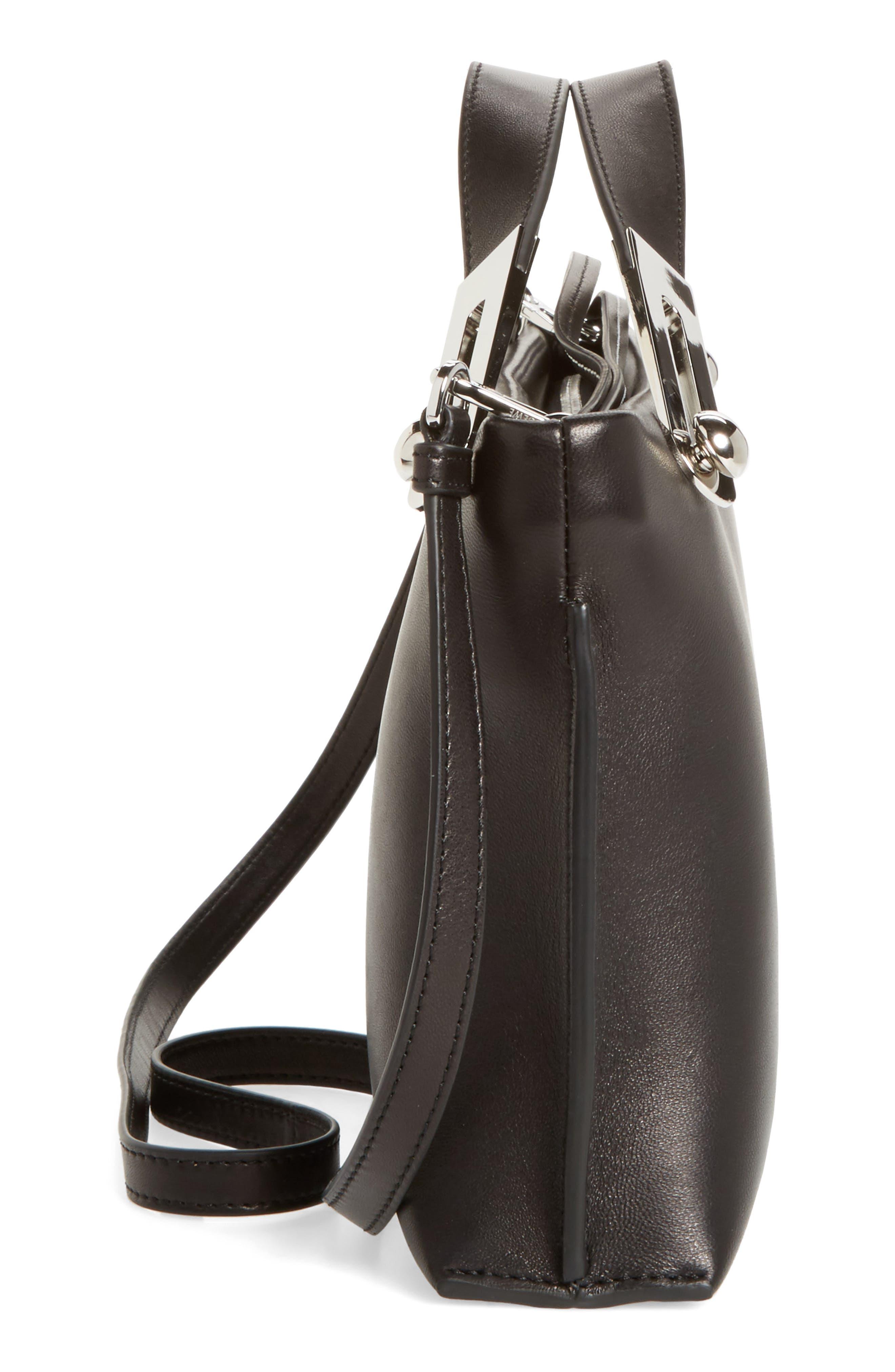 Missy Lambskin Leather Shoulder Bag,                             Alternate thumbnail 5, color,                             BLACK