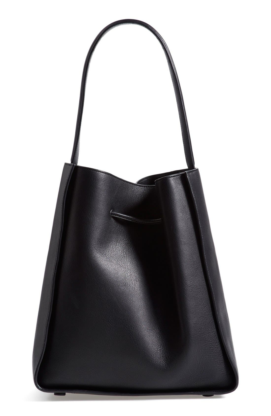 'Large Soleil' Leather Bucket Bag,                             Alternate thumbnail 3, color,                             001