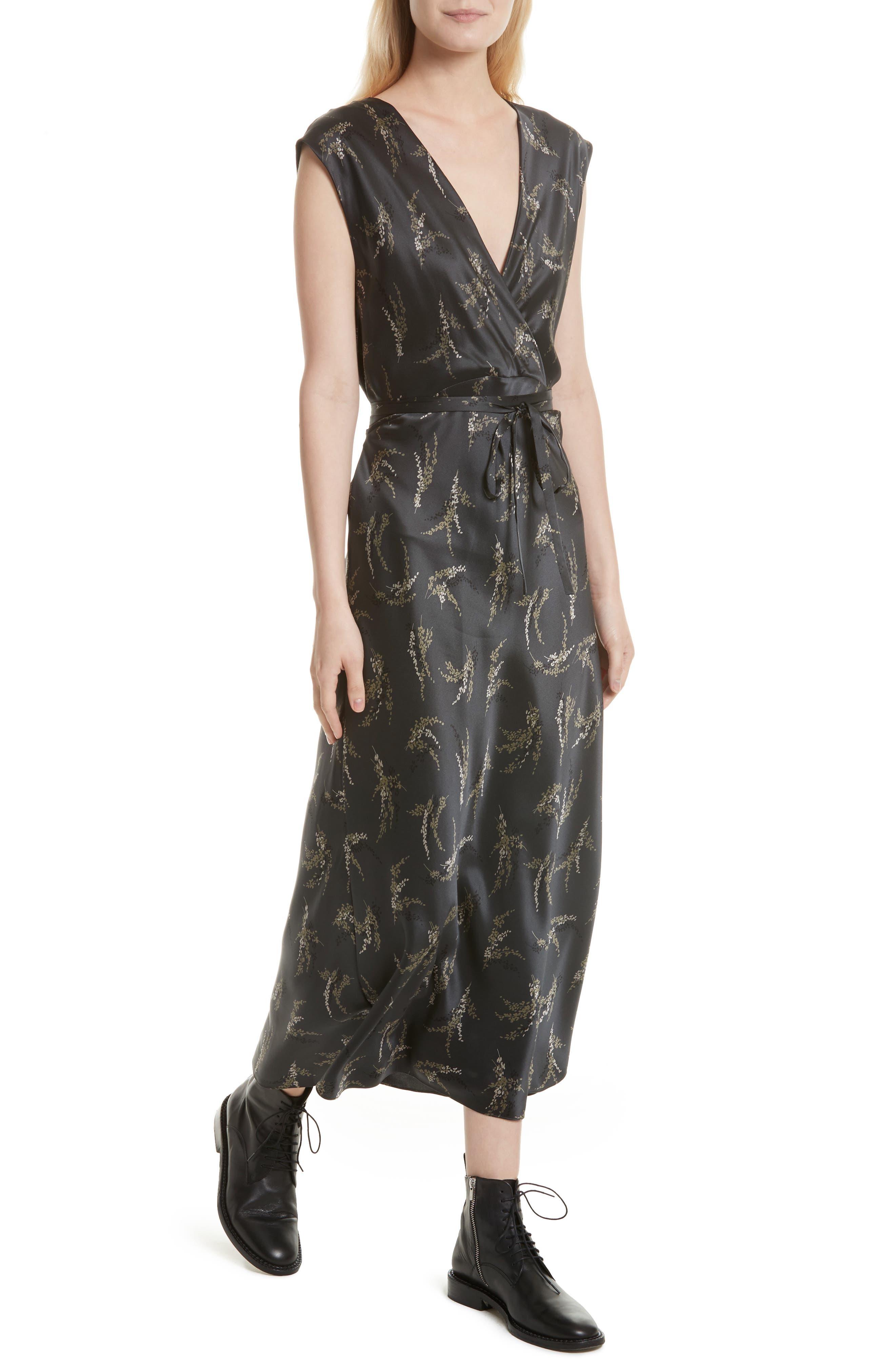 Spring Floral Faux Wrap Silk Dress,                             Alternate thumbnail 4, color,                             021