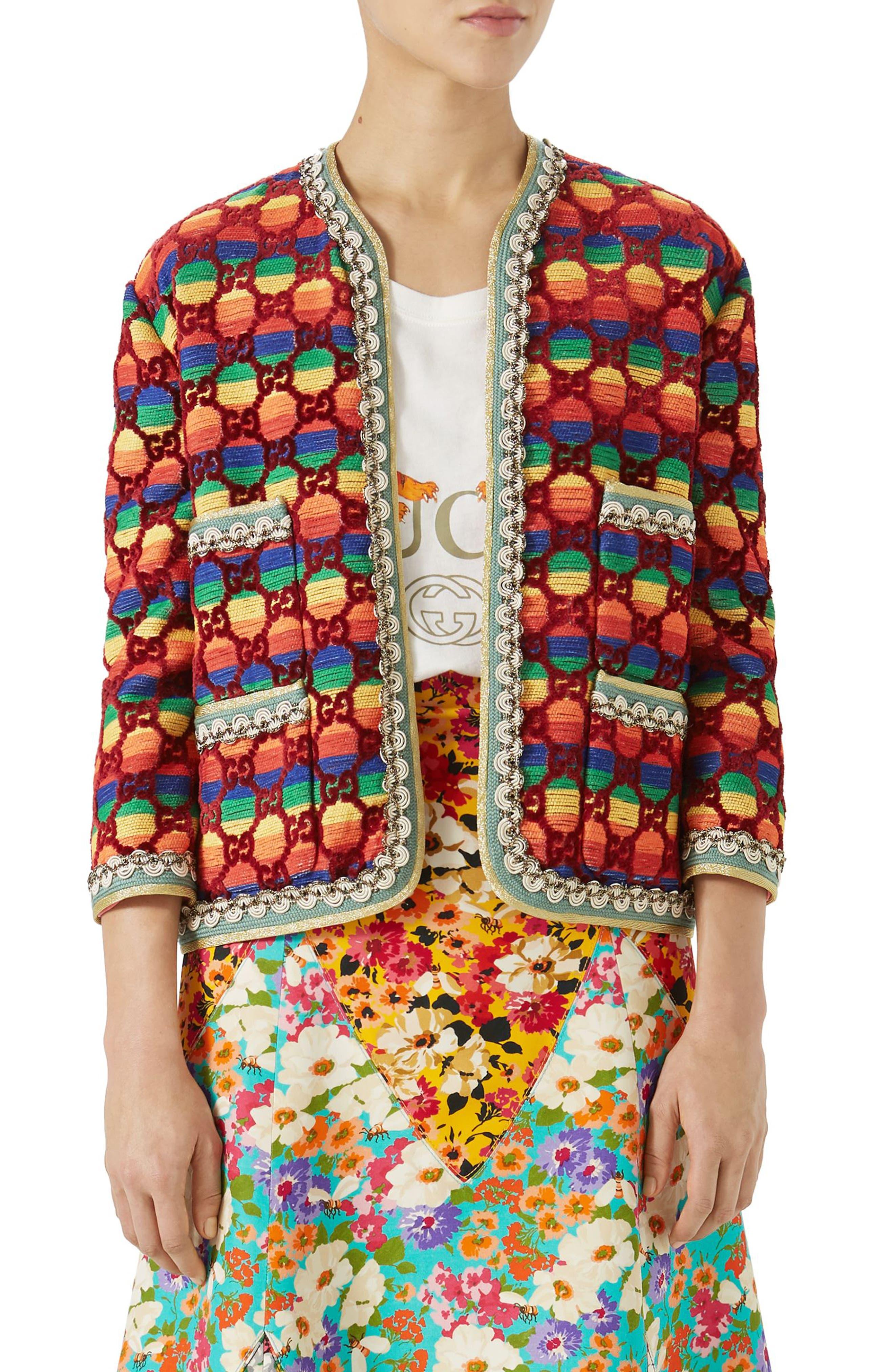 GG Rainbow Stripe Velvet Jacket,                         Main,                         color, 621