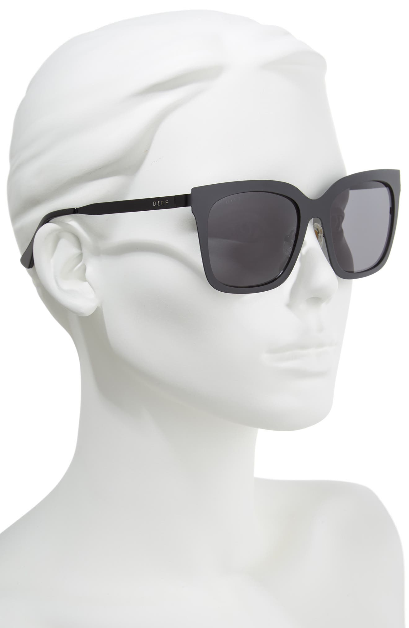 x Lauren Akins Ella 53mm Cat Eye Sunglasses,                             Alternate thumbnail 2, color,                             001