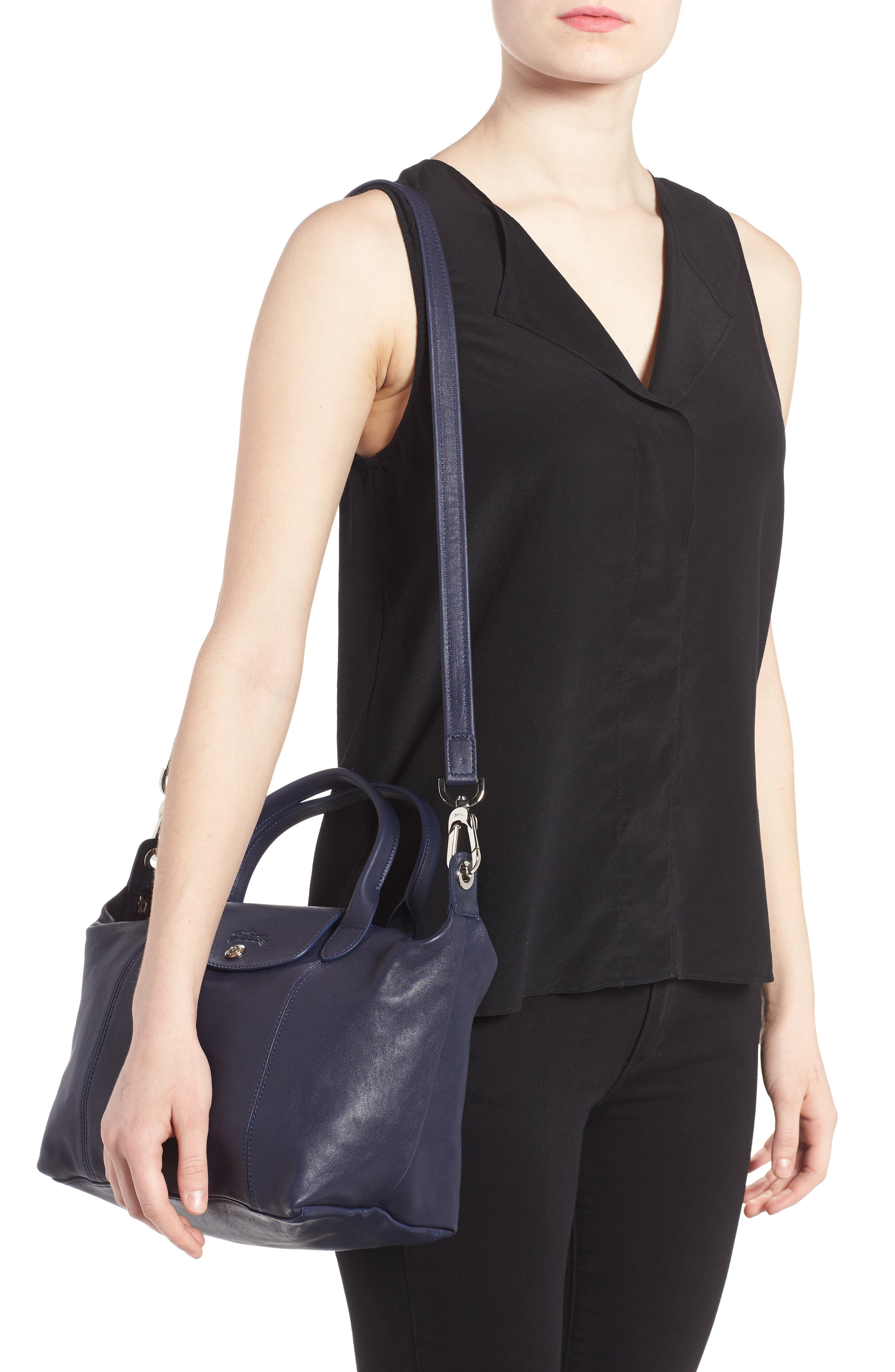 Small 'Le Pliage Cuir' Leather Top Handle Tote,                             Alternate thumbnail 37, color,