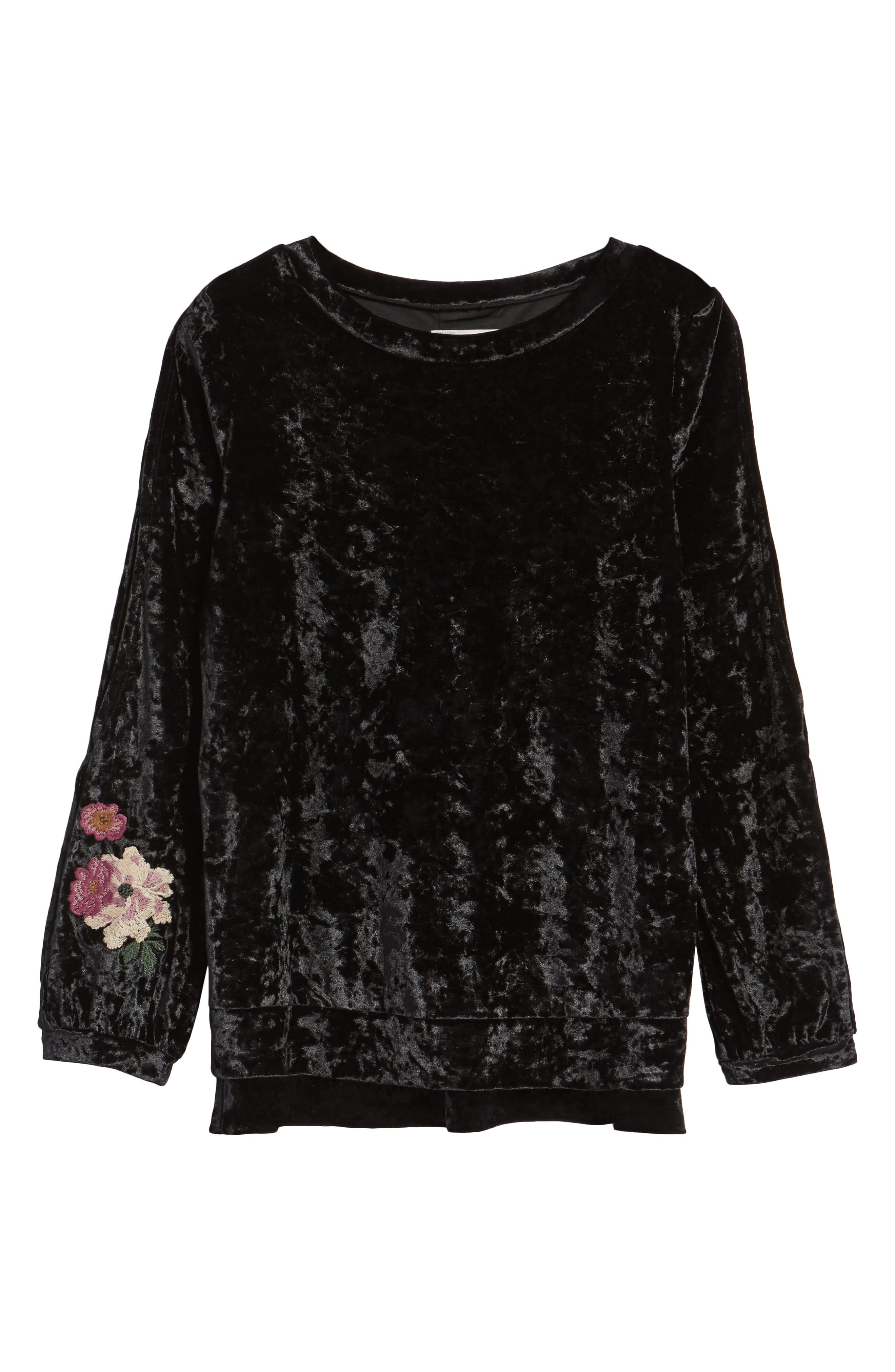 Split Sleeve Embroidered Top,                             Alternate thumbnail 6, color,                             001