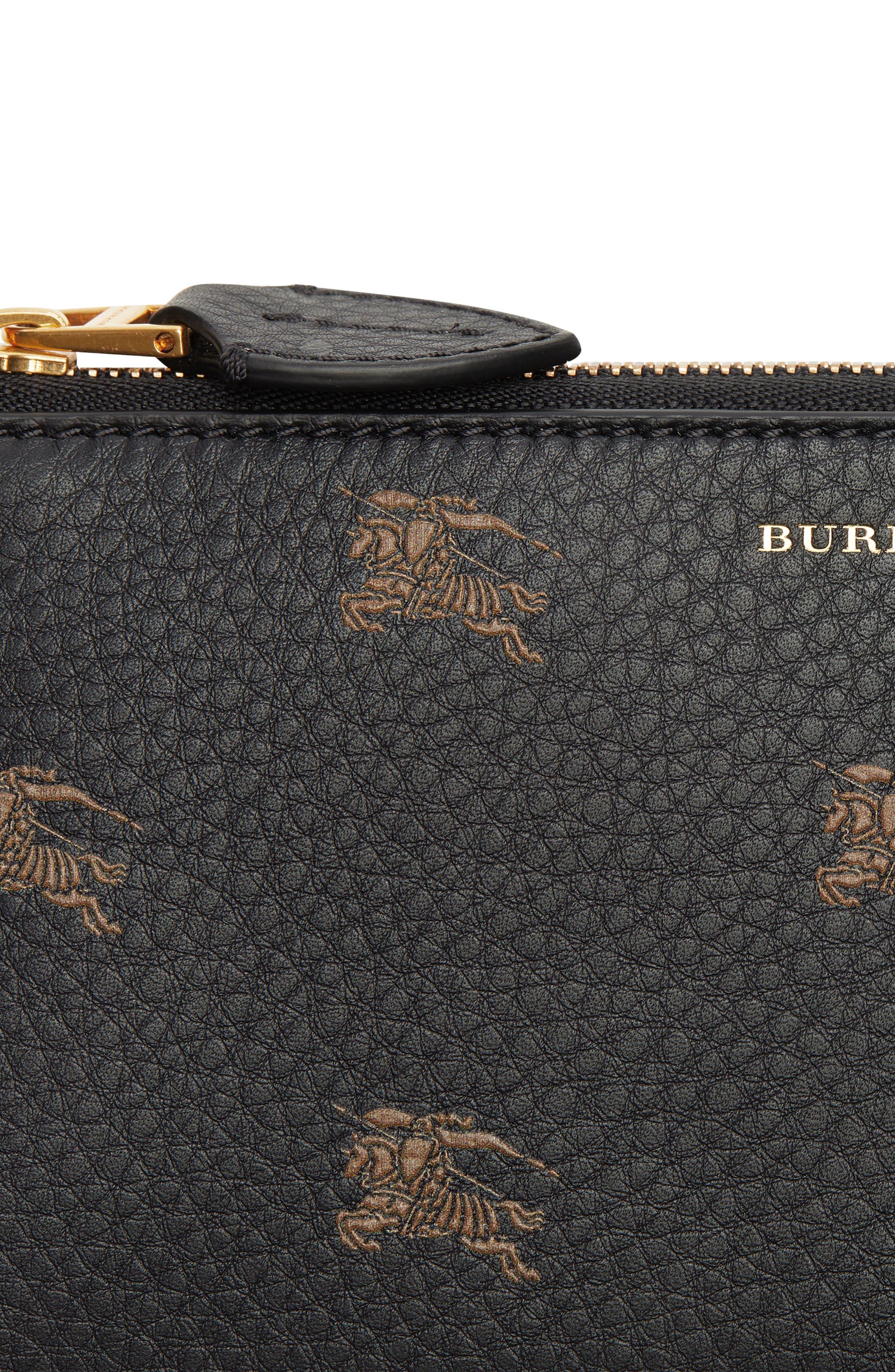 Embossed Leather Zip Around Wallet,                             Alternate thumbnail 4, color,                             BLACK