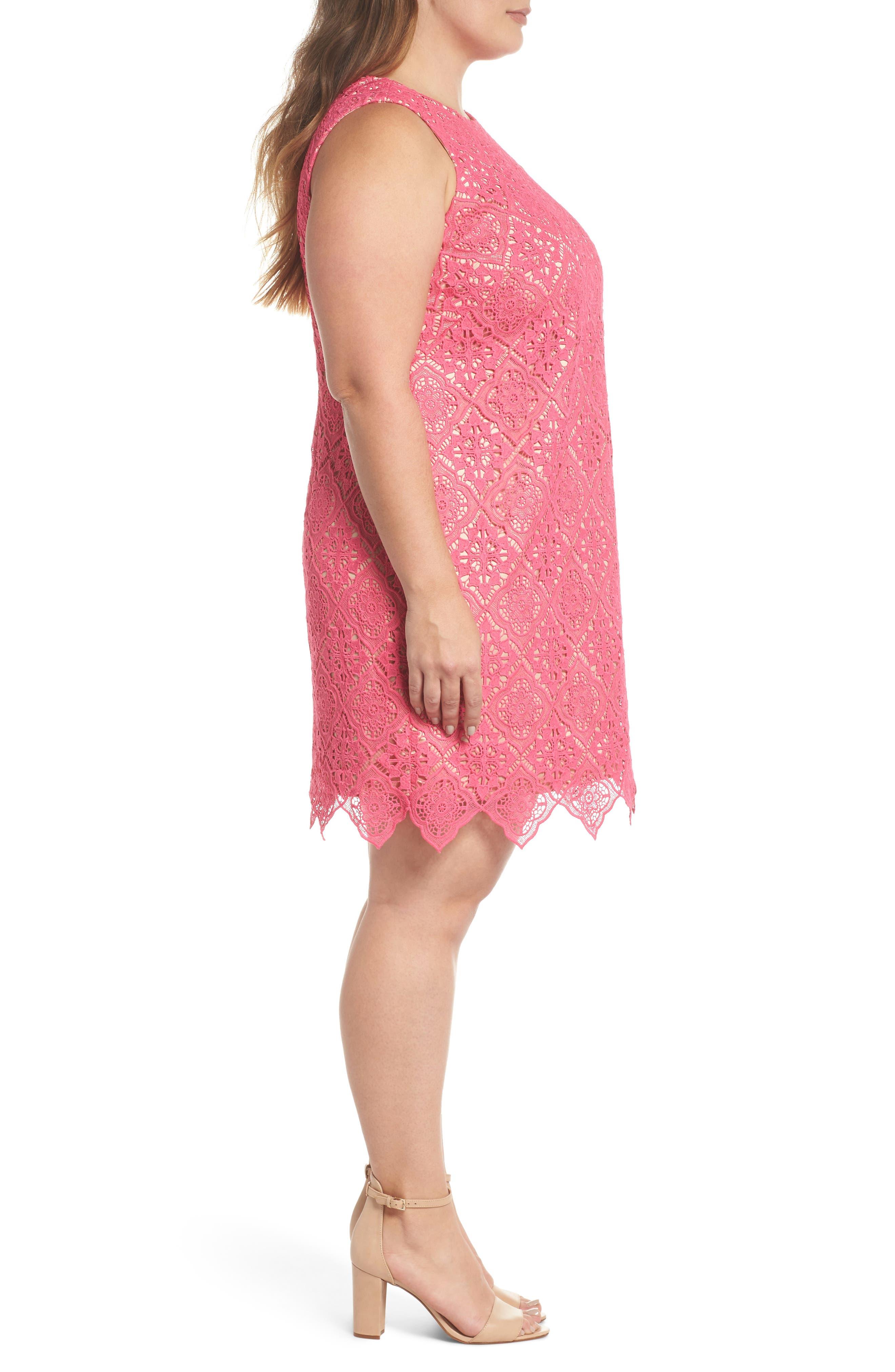 Lace Sleeveless Shift Dress,                             Alternate thumbnail 3, color,                             670