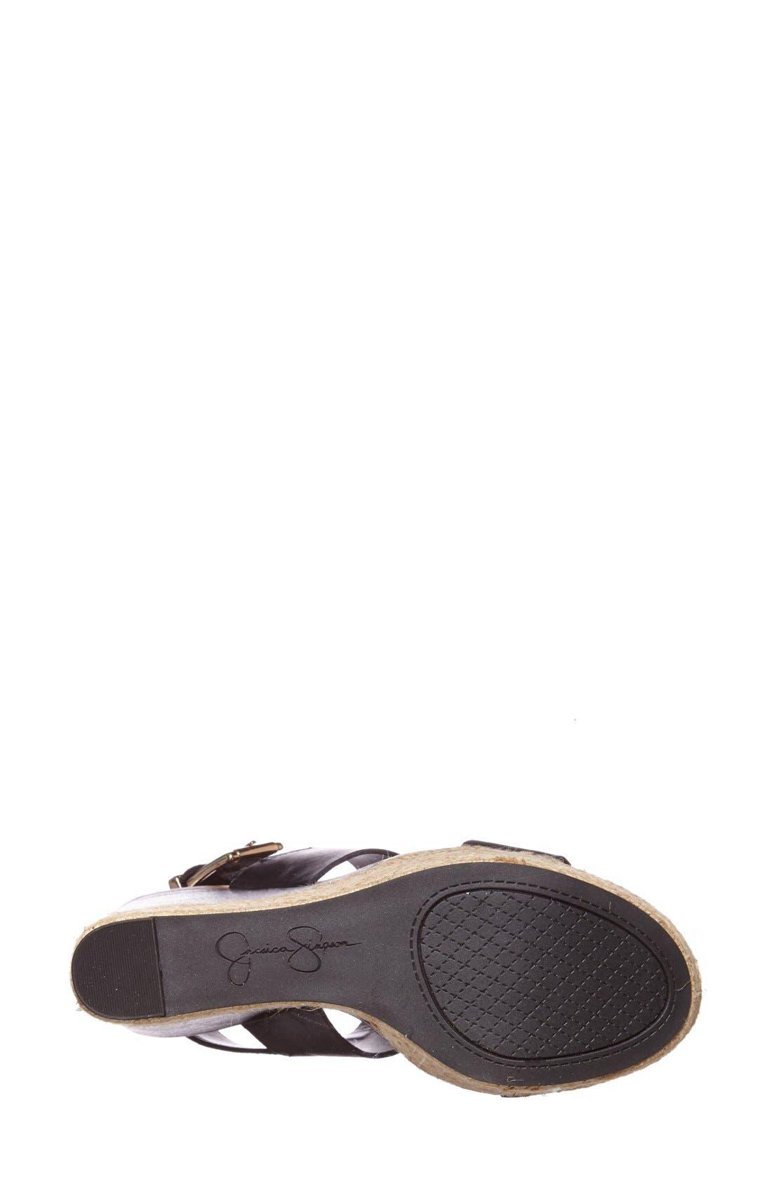 'Allyn' Wedge Platform Leather Sandal,                             Alternate thumbnail 2, color,                             001