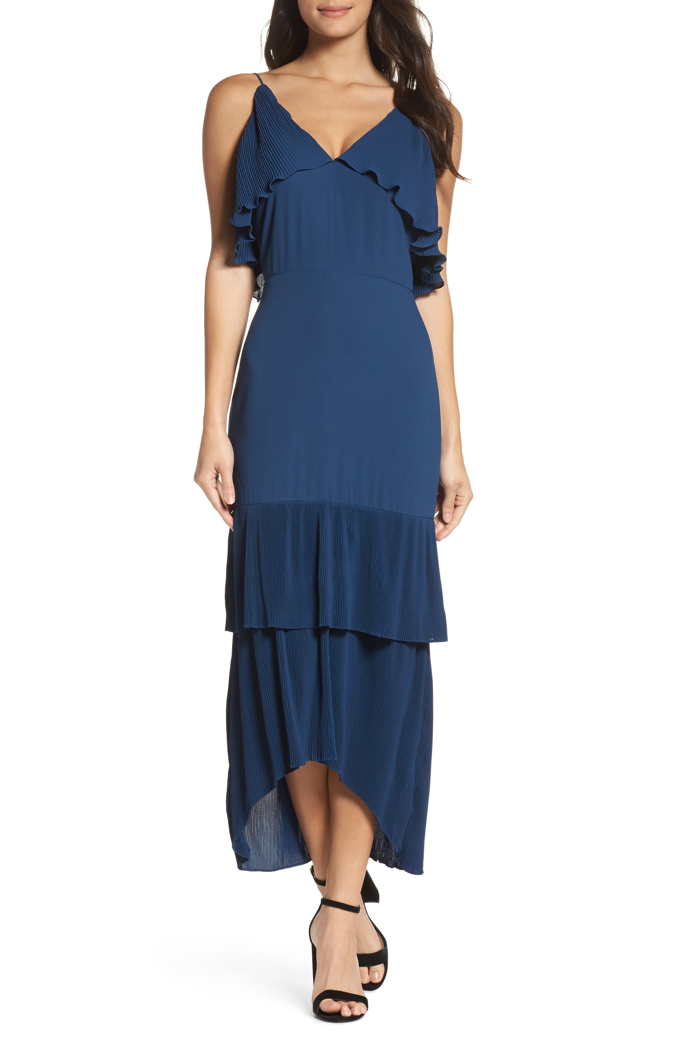 Kate Pleated Ruffle Midi Dress,                         Main,                         color, 415