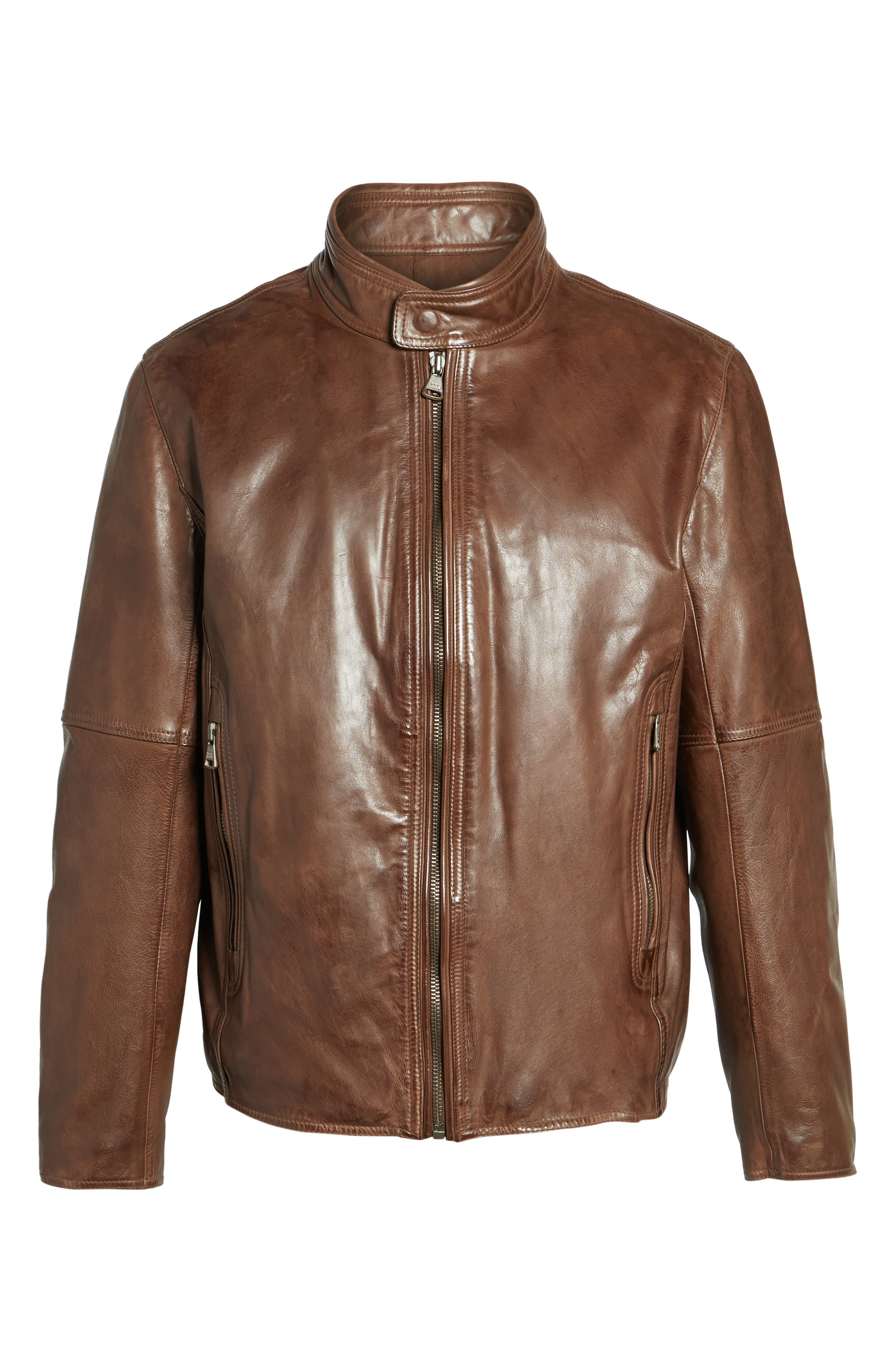 Calfskin Leather Moto Jacket,                             Alternate thumbnail 10, color,