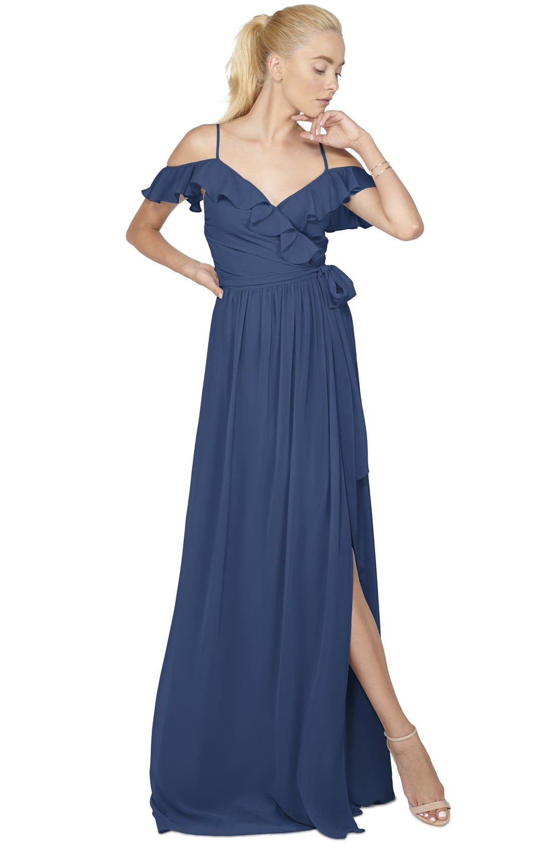 Portia Off the Shoulder Ruffle Wrap Chiffon Gown,                             Main thumbnail 2, color,