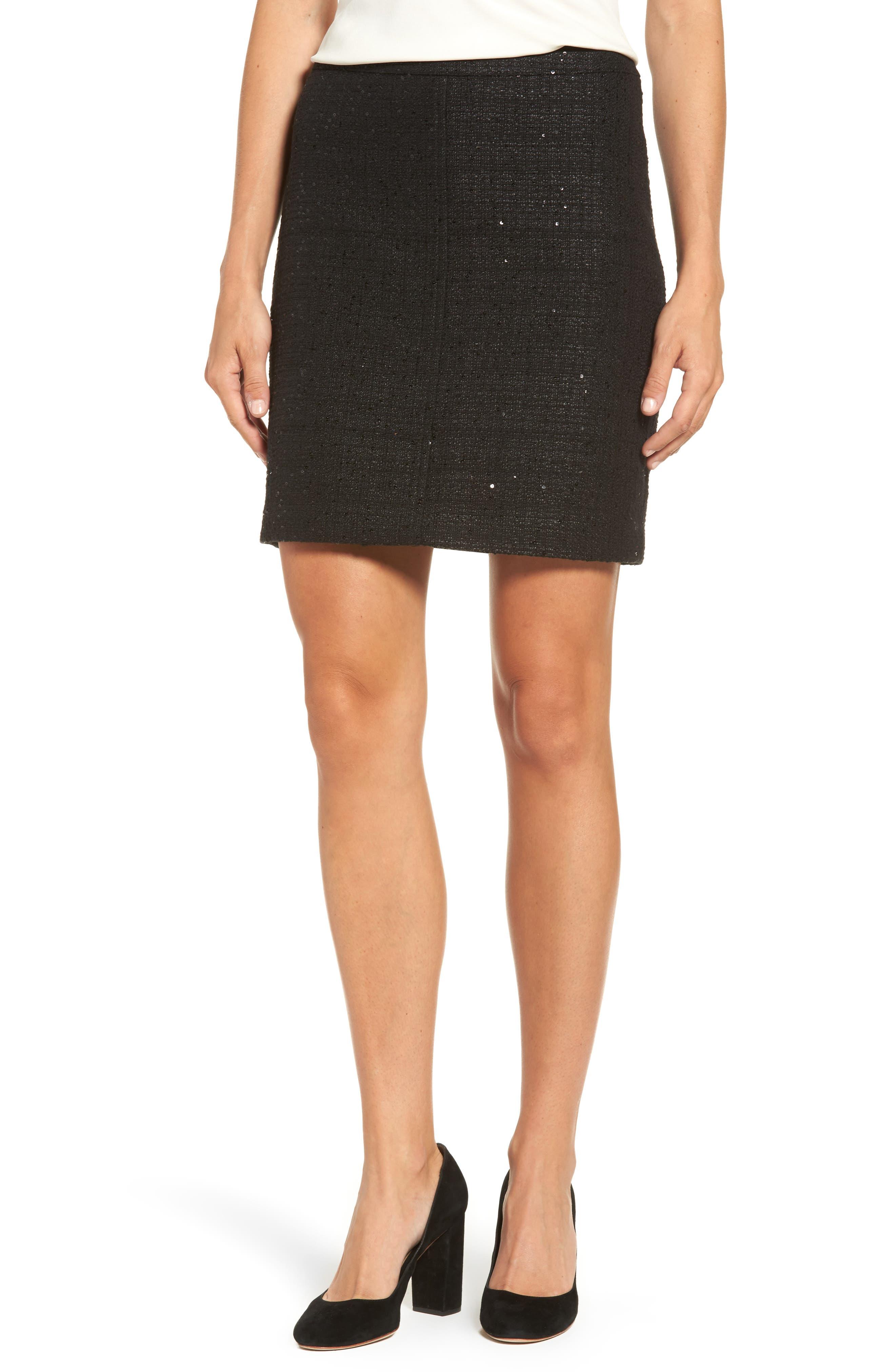 Sequin Tweed Skirt,                         Main,                         color, 001