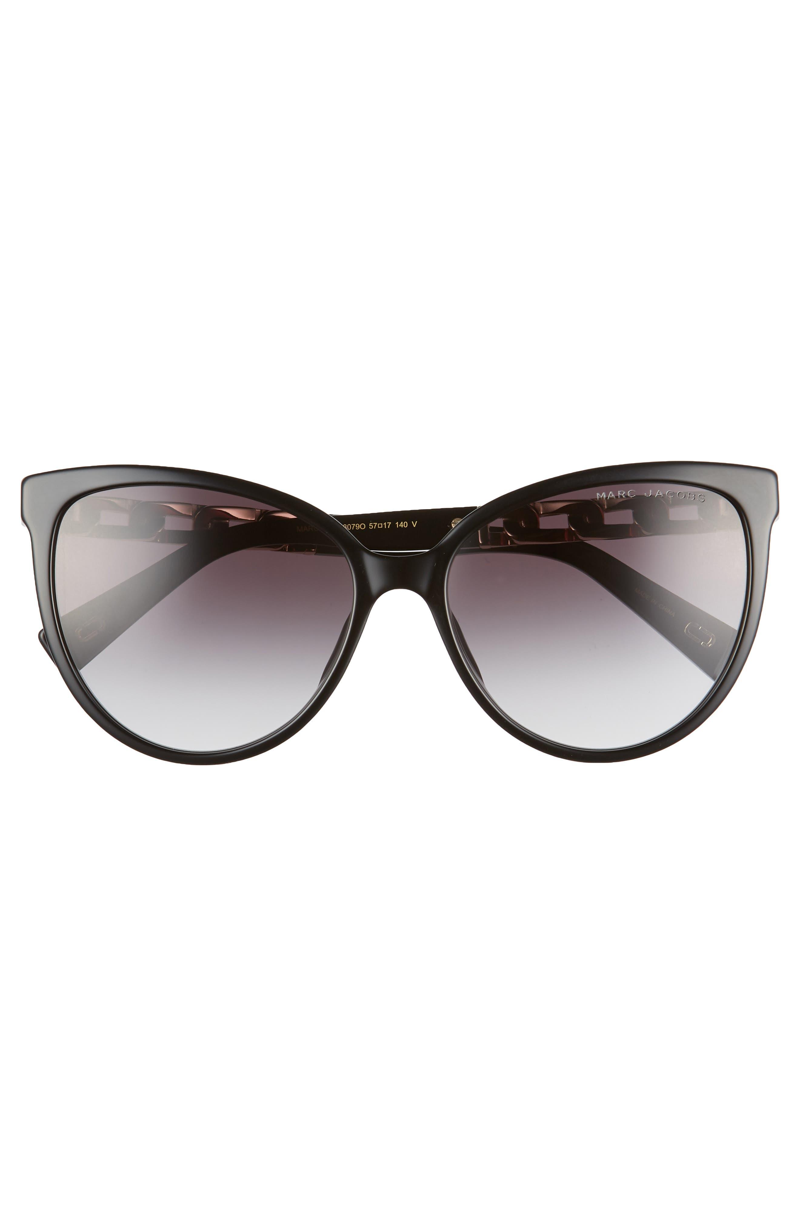 57mm Gradient Cat Eye Sunglasses,                             Alternate thumbnail 3, color,                             BLACK