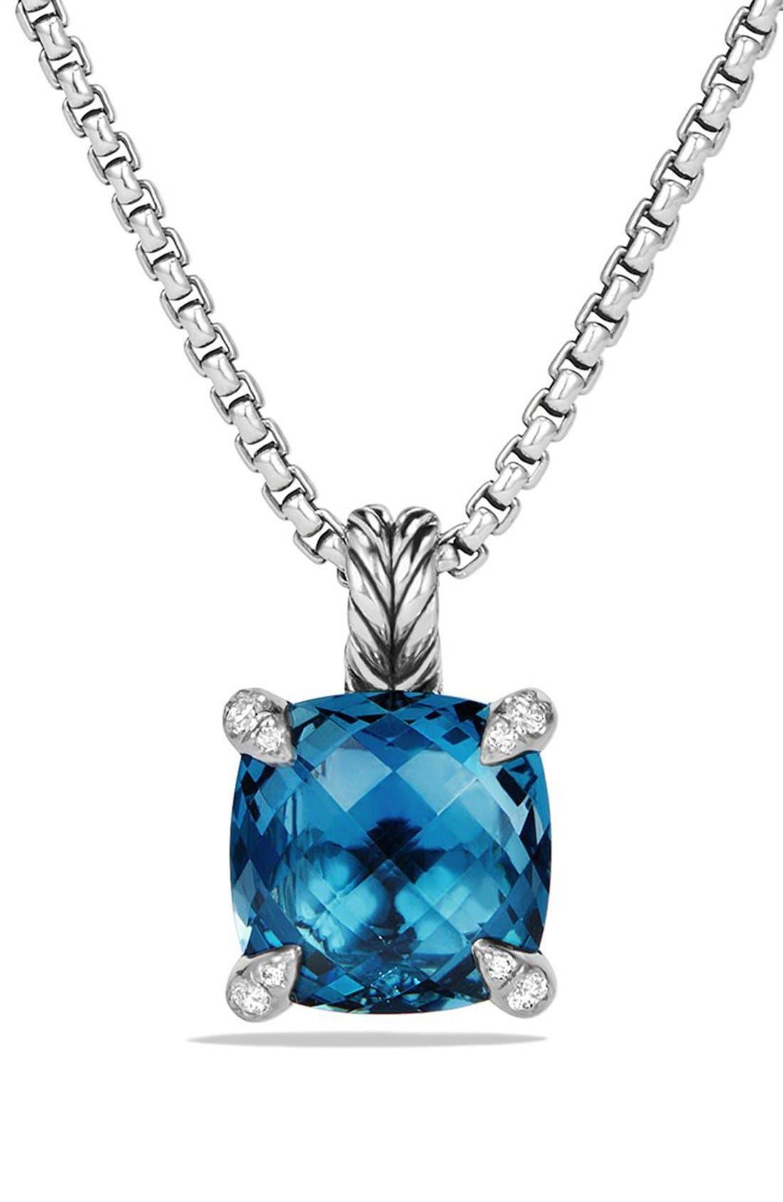 'Châtelaine' Pendant Necklace with Semiprecious Stone & Diamonds,                             Main thumbnail 1, color,                             SILVER/ HAMPTON BLUE TOPAZ