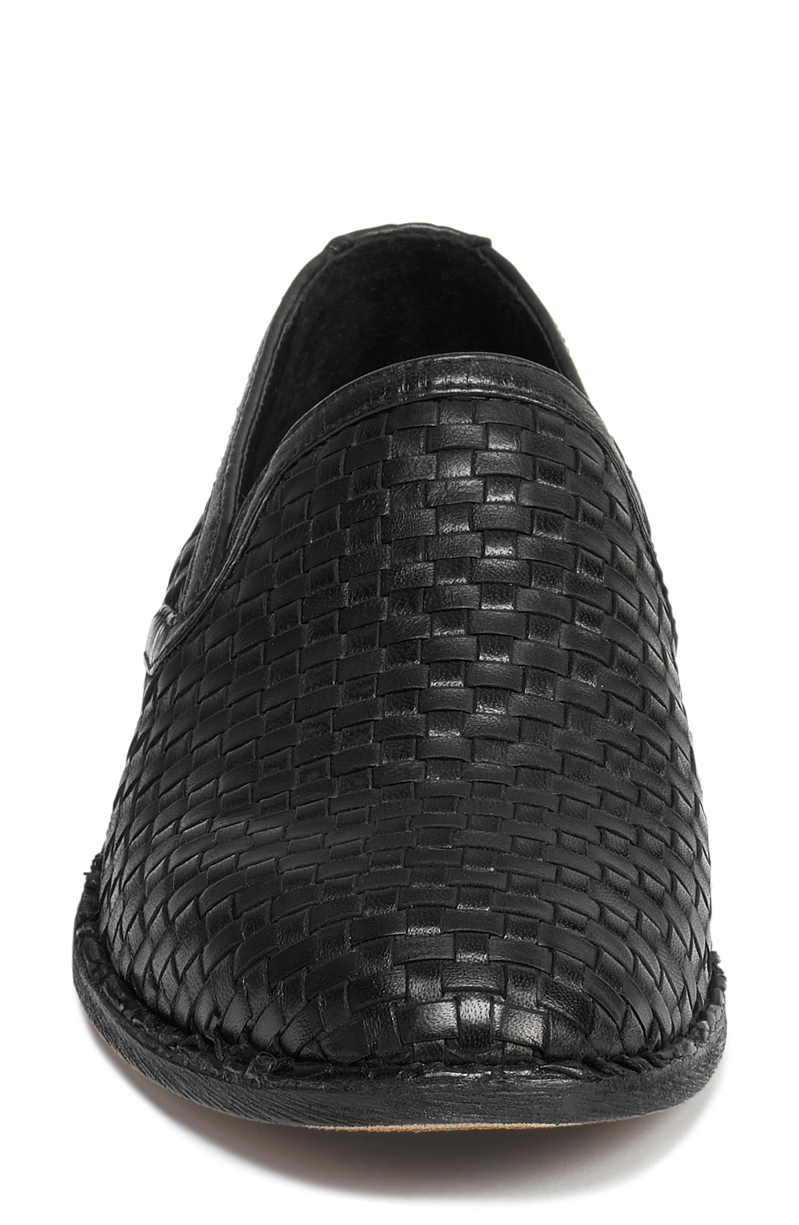Amanda Woven Loafer,                             Alternate thumbnail 4, color,                             BLACK SUEDE