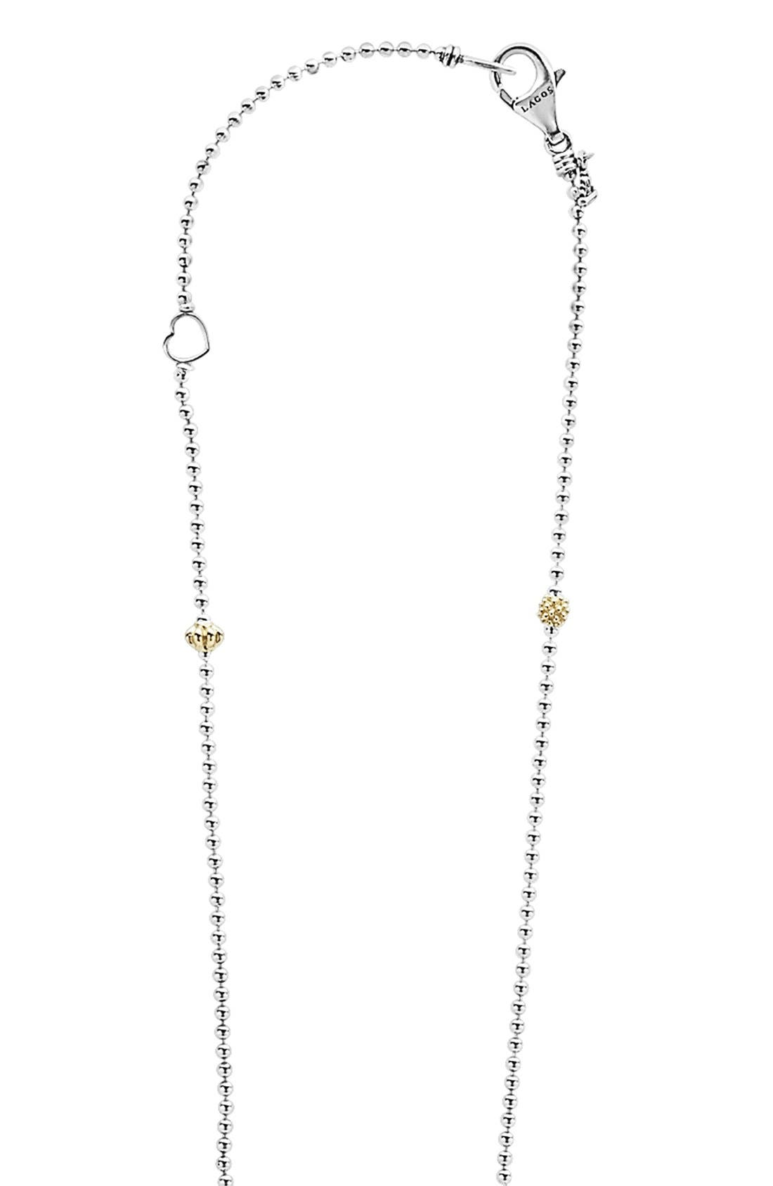 'Caviar Icon' Tassel Pendant Necklace,                             Alternate thumbnail 3, color,                             SILVER/ GOLD