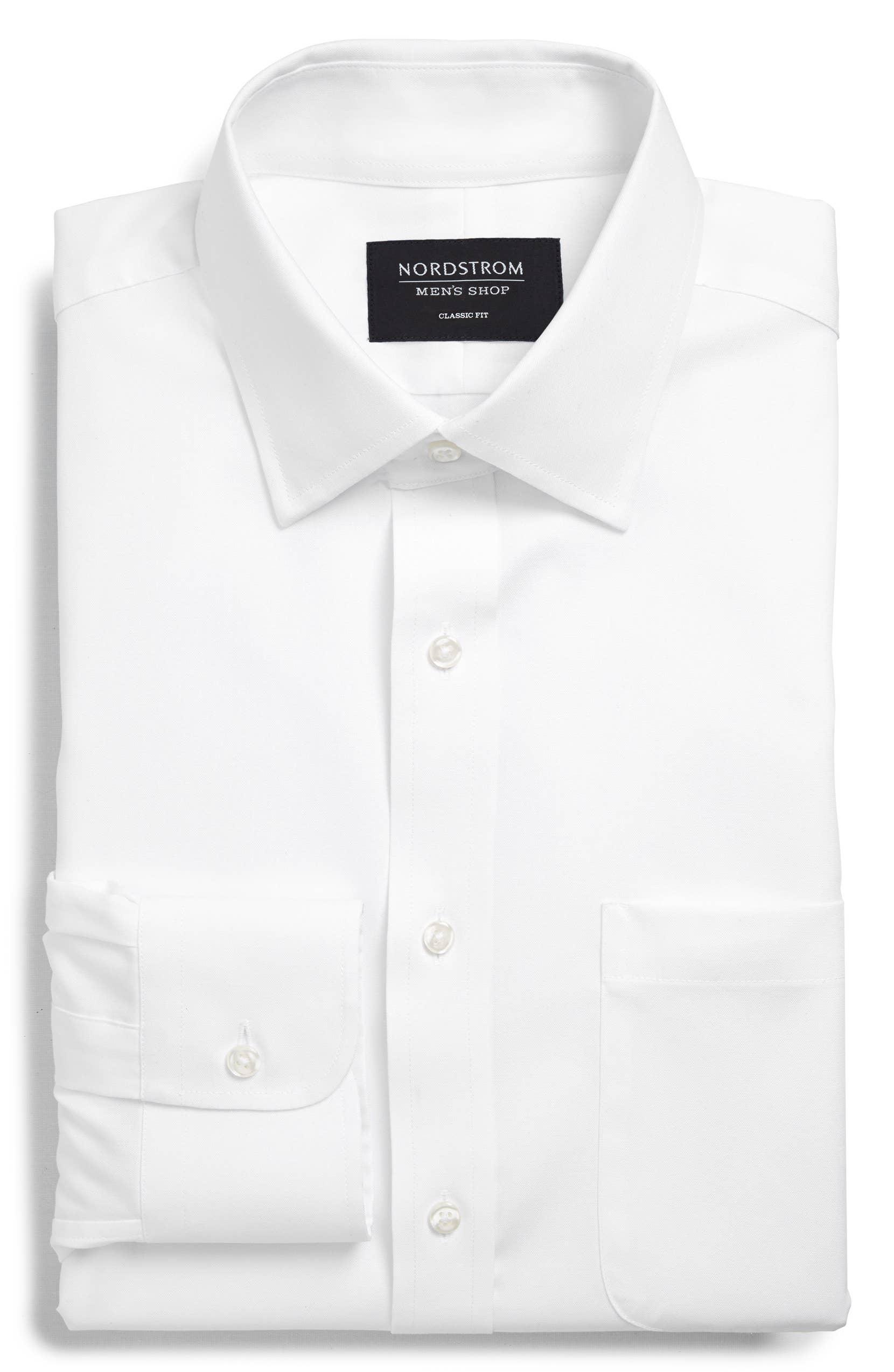 Classic Fit Non-Iron Dress Shirt, Alternate, color, WHITE