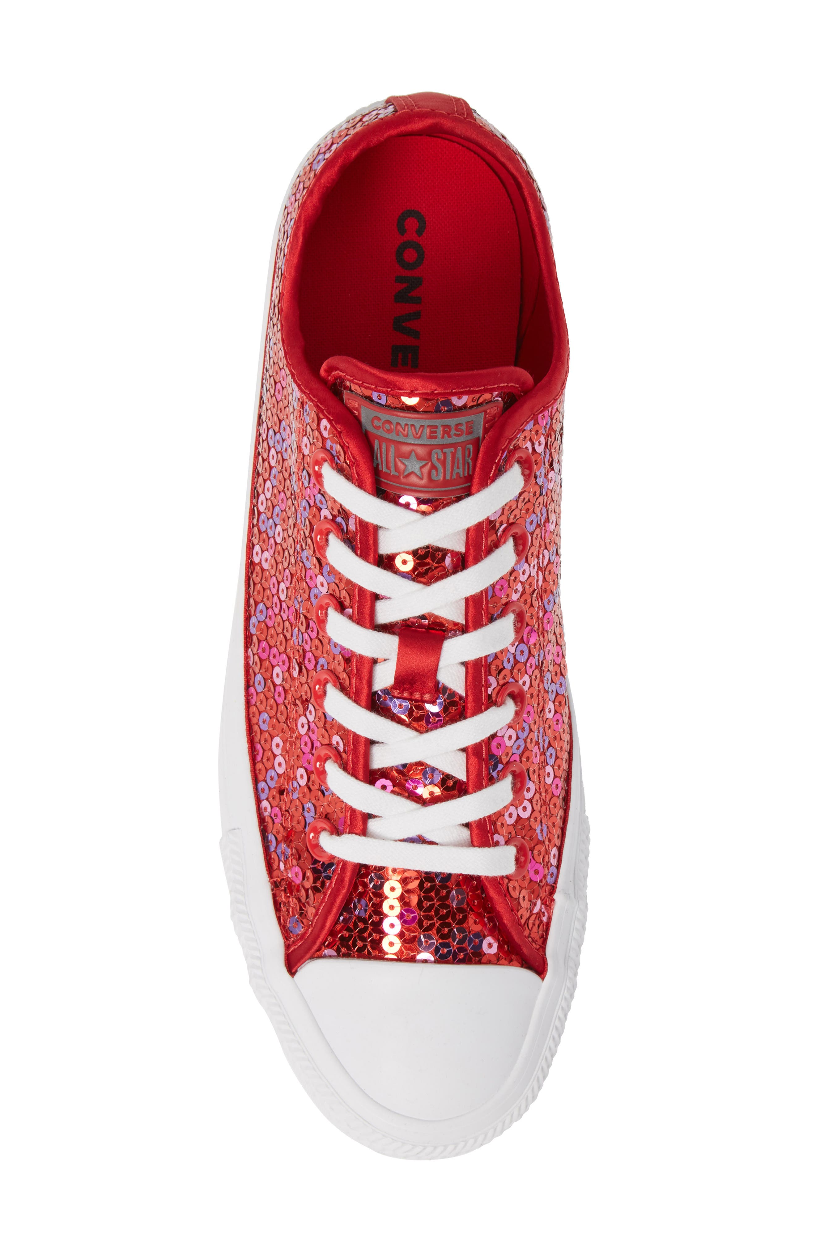 Chuck Taylor<sup>®</sup> All Star<sup>®</sup> Sequin Low Top Sneaker,                             Alternate thumbnail 5, color,                             RED CHERRY SEQUINS