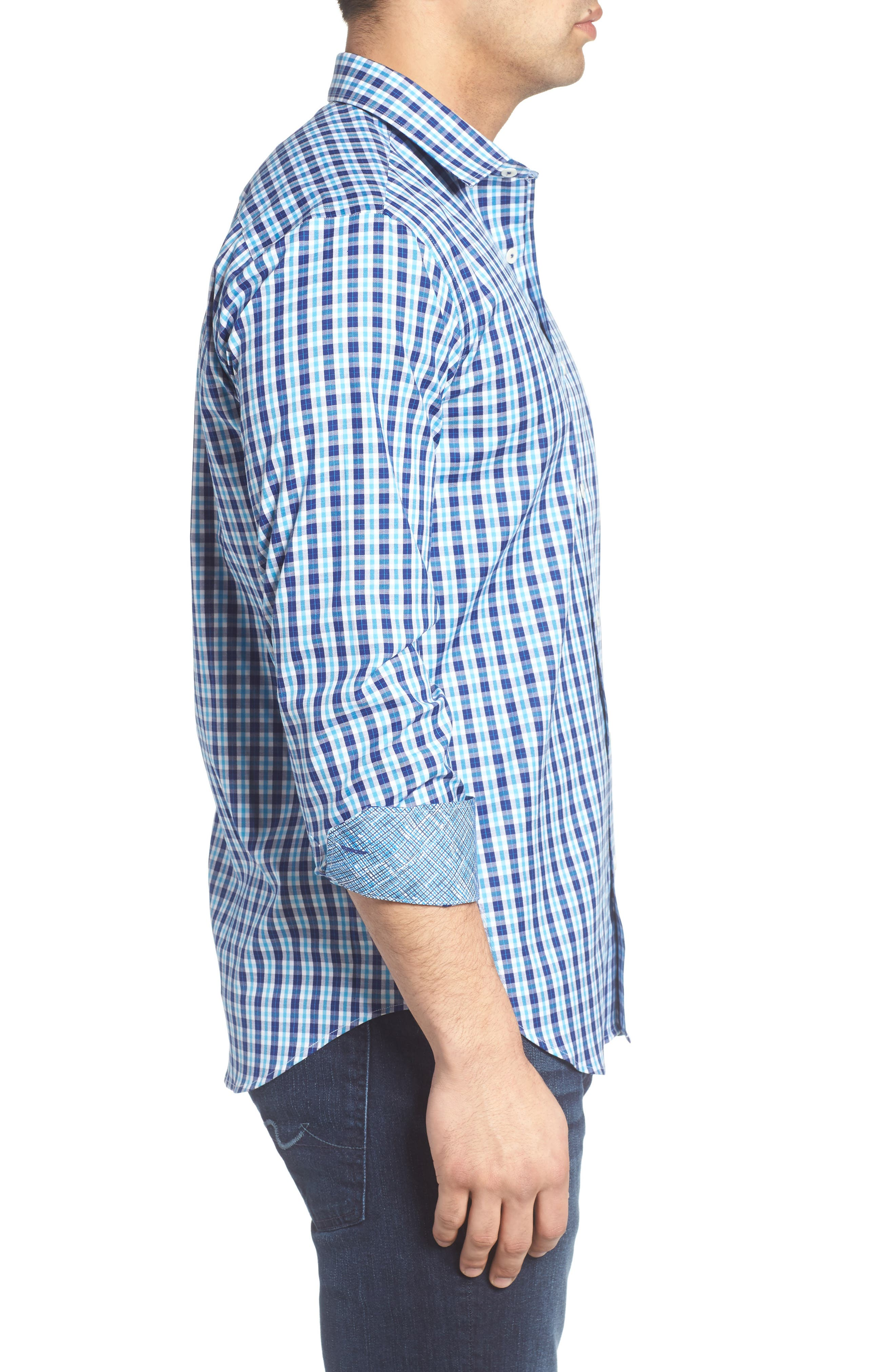 Shaped Fit Plaid Sport Shirt,                             Alternate thumbnail 3, color,                             422