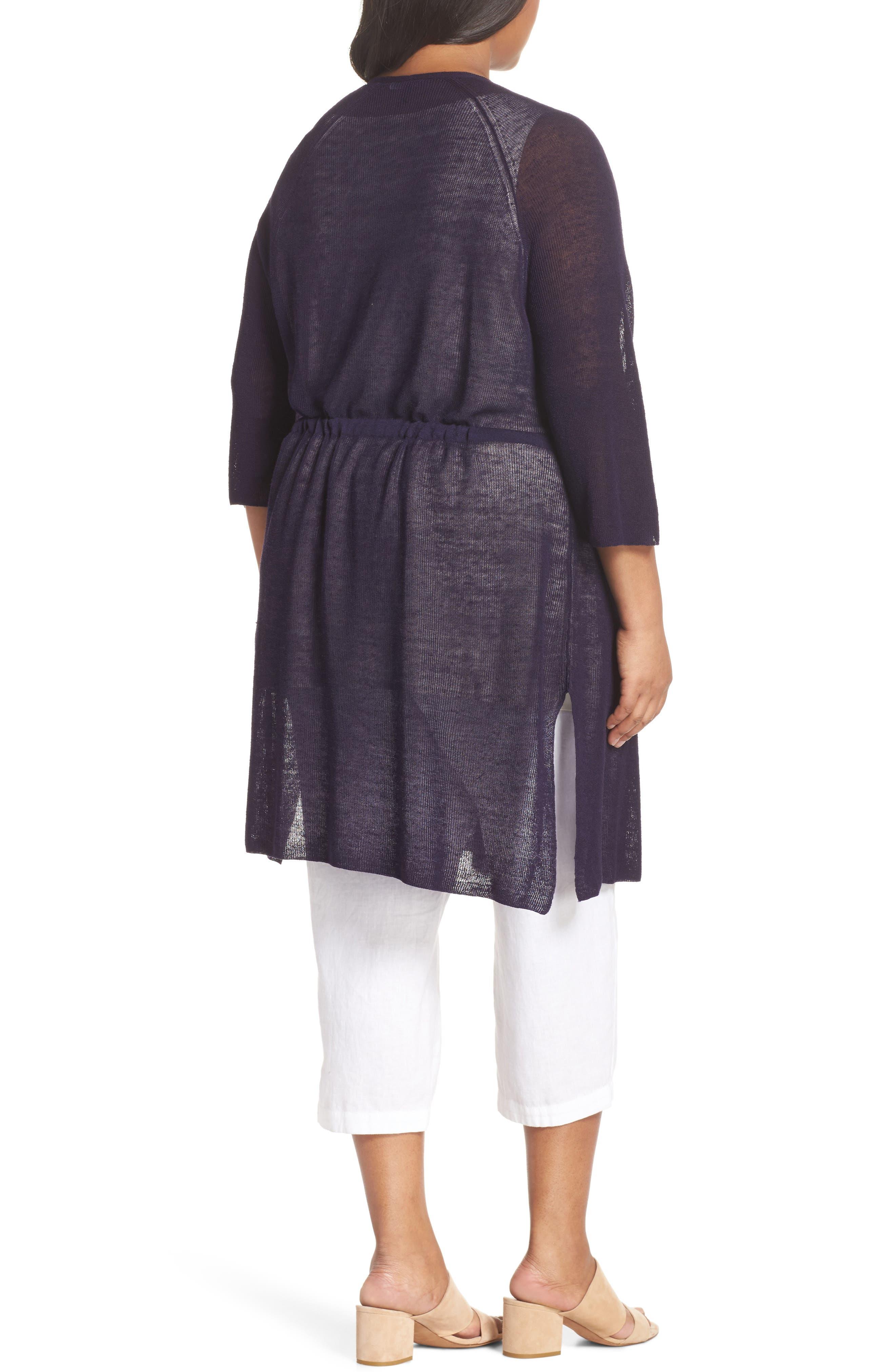 Long Organic Linen Blend Kimono Cardigan,                             Alternate thumbnail 7, color,