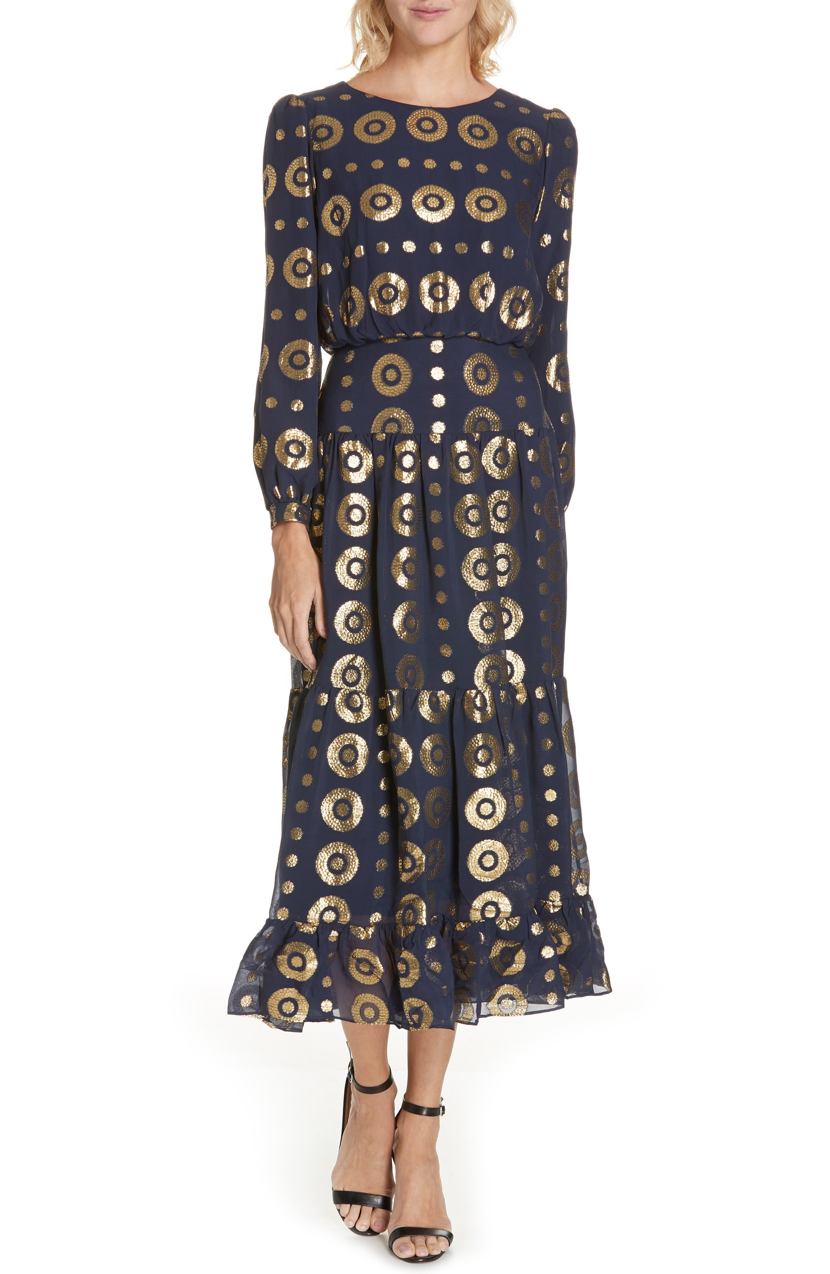 Isabel Fil Coupé Silk Blend Midi Dress,                             Main thumbnail 1, color,                             NAVY/ GOLD