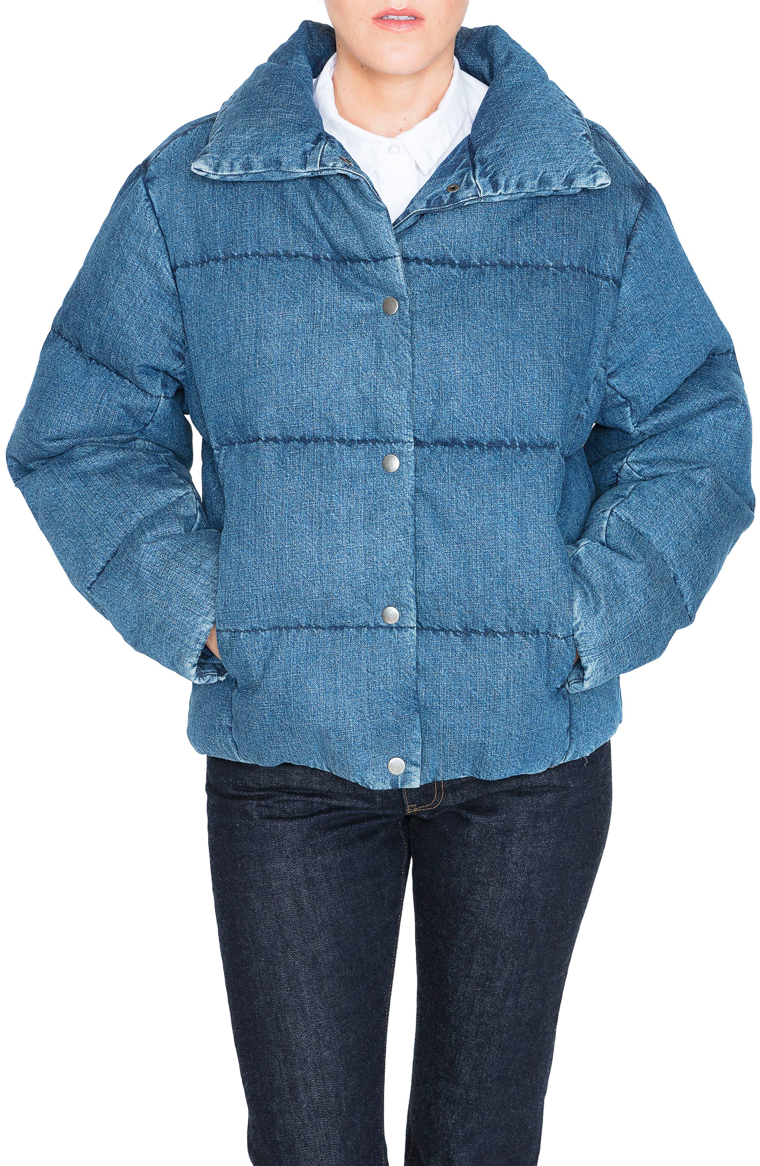 Denim Down Puffer Jacket,                             Main thumbnail 1, color,                             BLUE