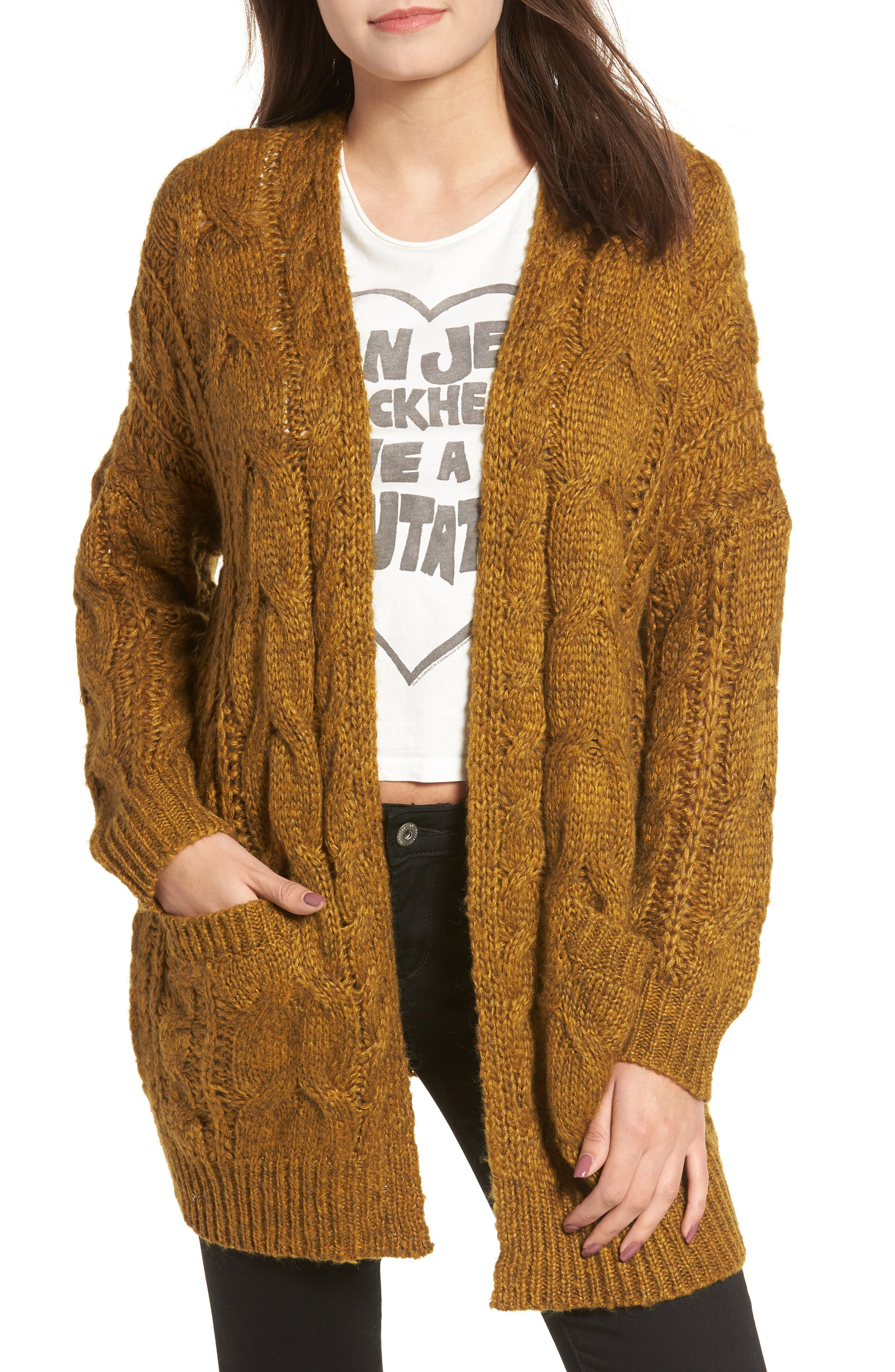 Chunky Cable Knit Cardigan,                         Main,                         color, MUSTARD