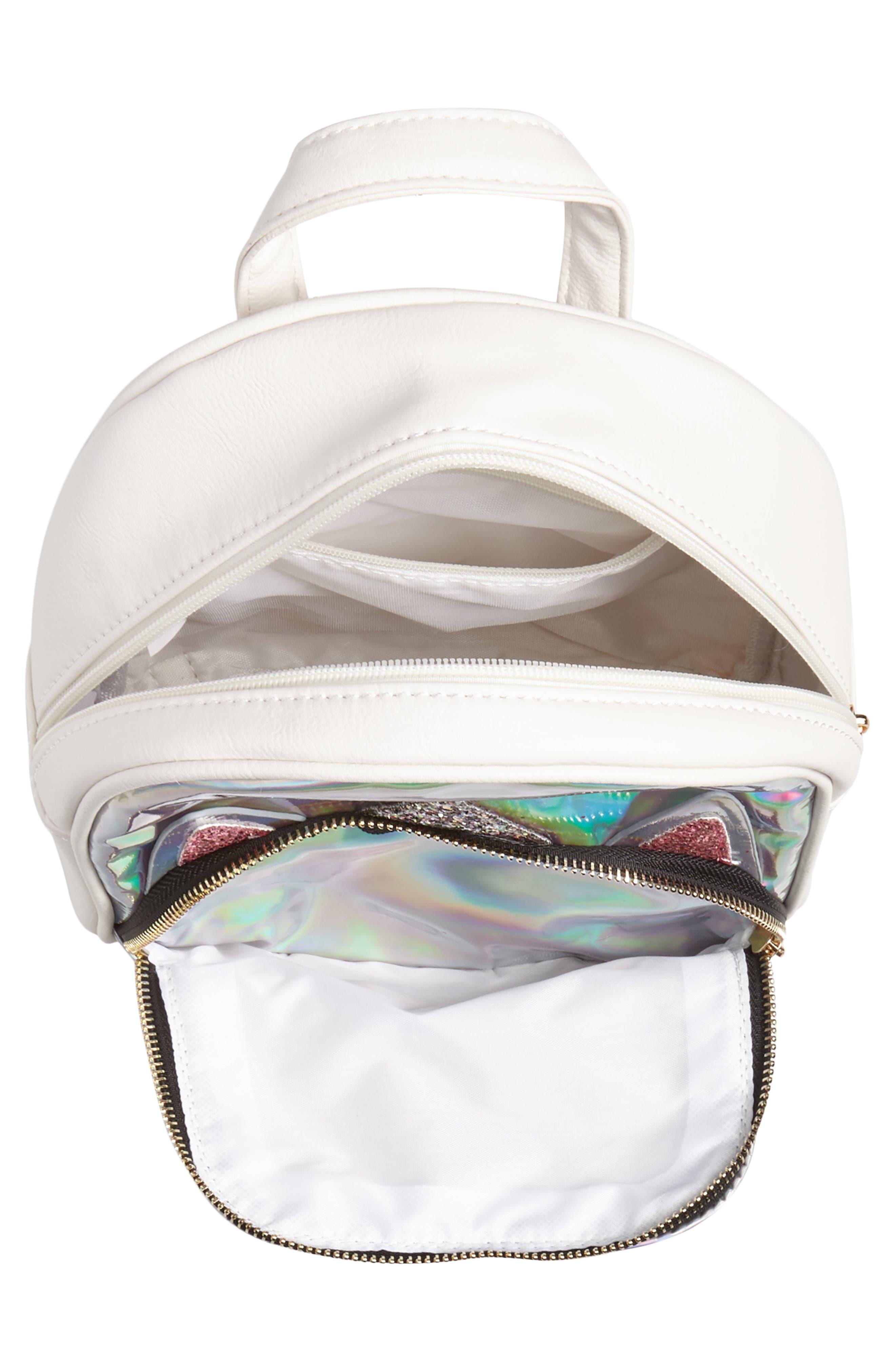 Mini Hologram Unicorn Backpack,                             Alternate thumbnail 3, color,                             SILVER