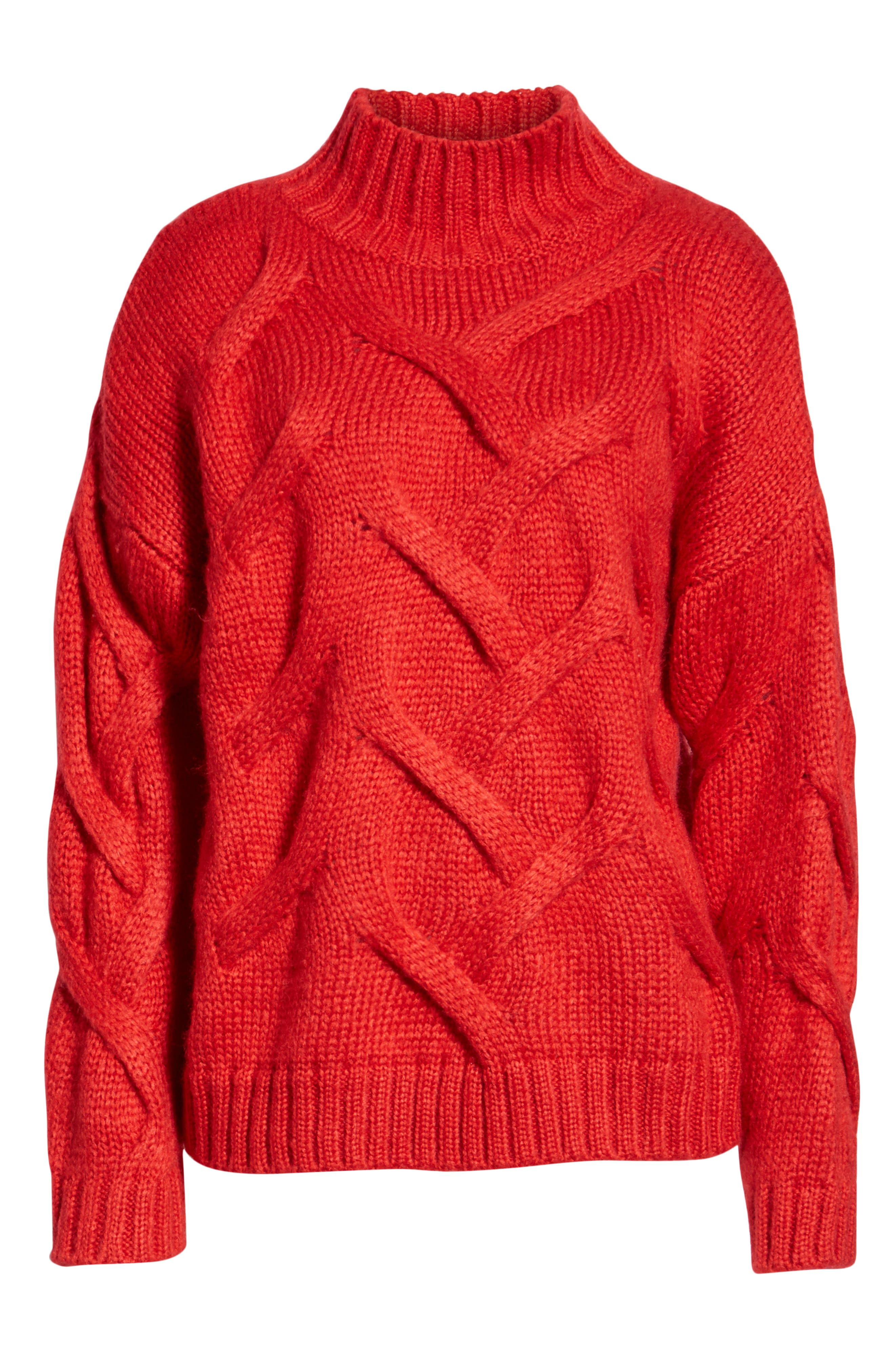 Cable Mock Neck Sweater,                             Alternate thumbnail 6, color,                             RED