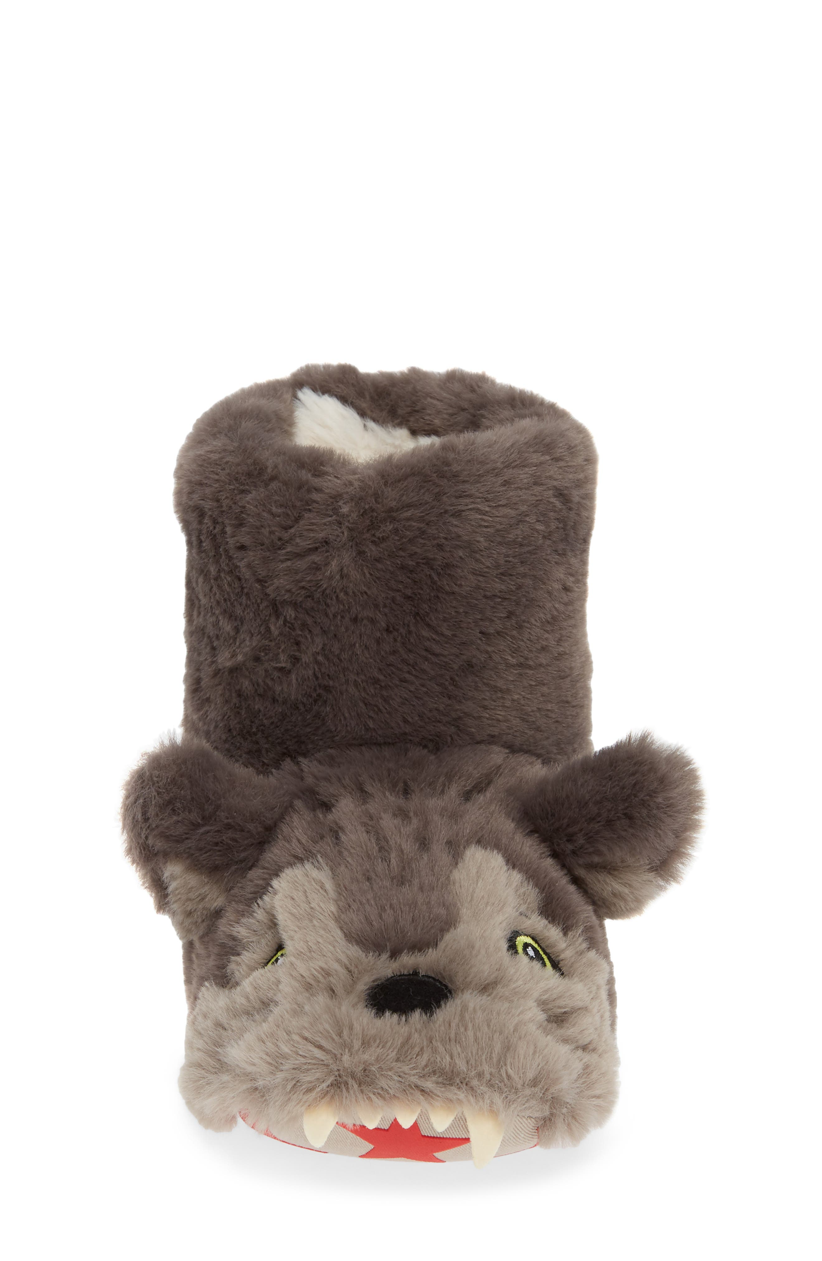 Mini Boden Wolf Faux Fur Slipper Booties,                             Alternate thumbnail 4, color,                             MID GREY