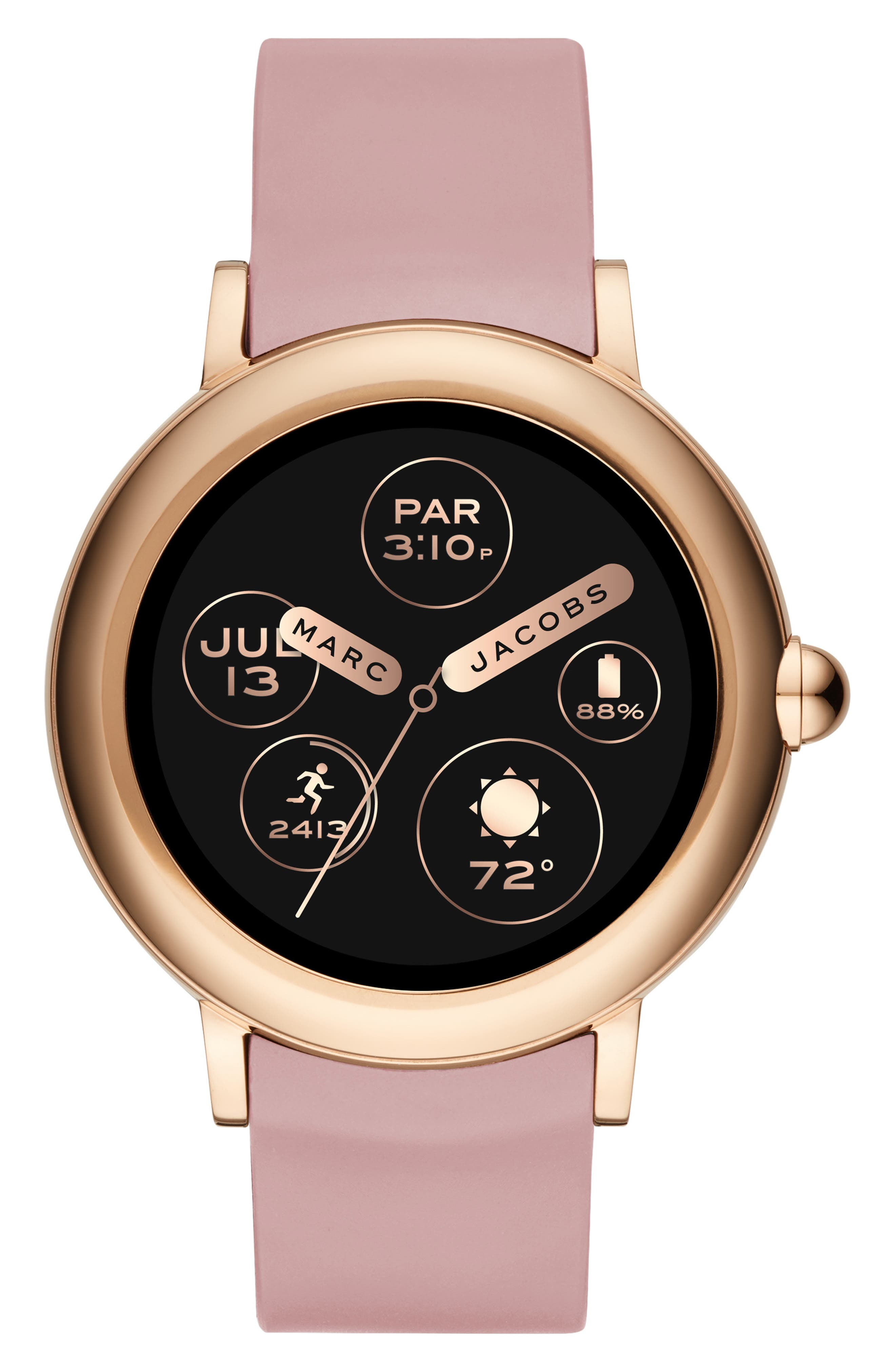 Riley Silcone Strap Smart Watch, 44mm,                             Main thumbnail 1, color,                             PINK/ ROSE GOLD