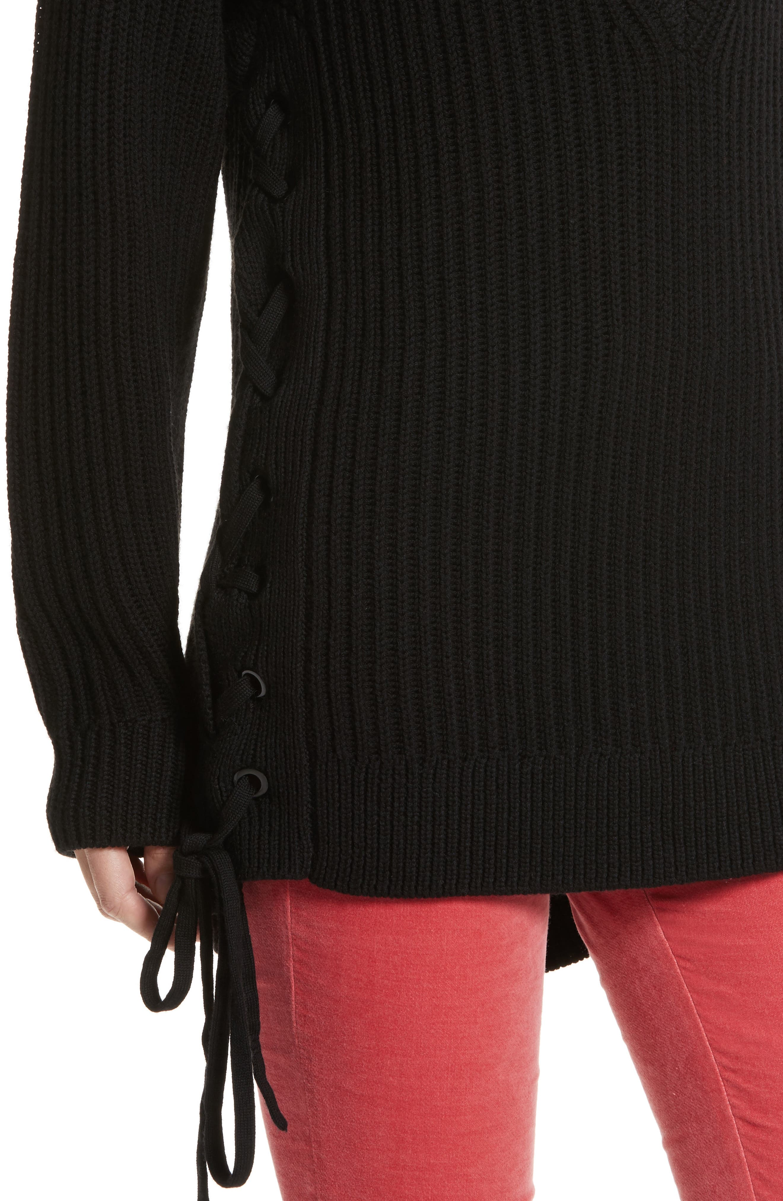 Ivy Side Tie Sweater,                             Alternate thumbnail 4, color,                             001